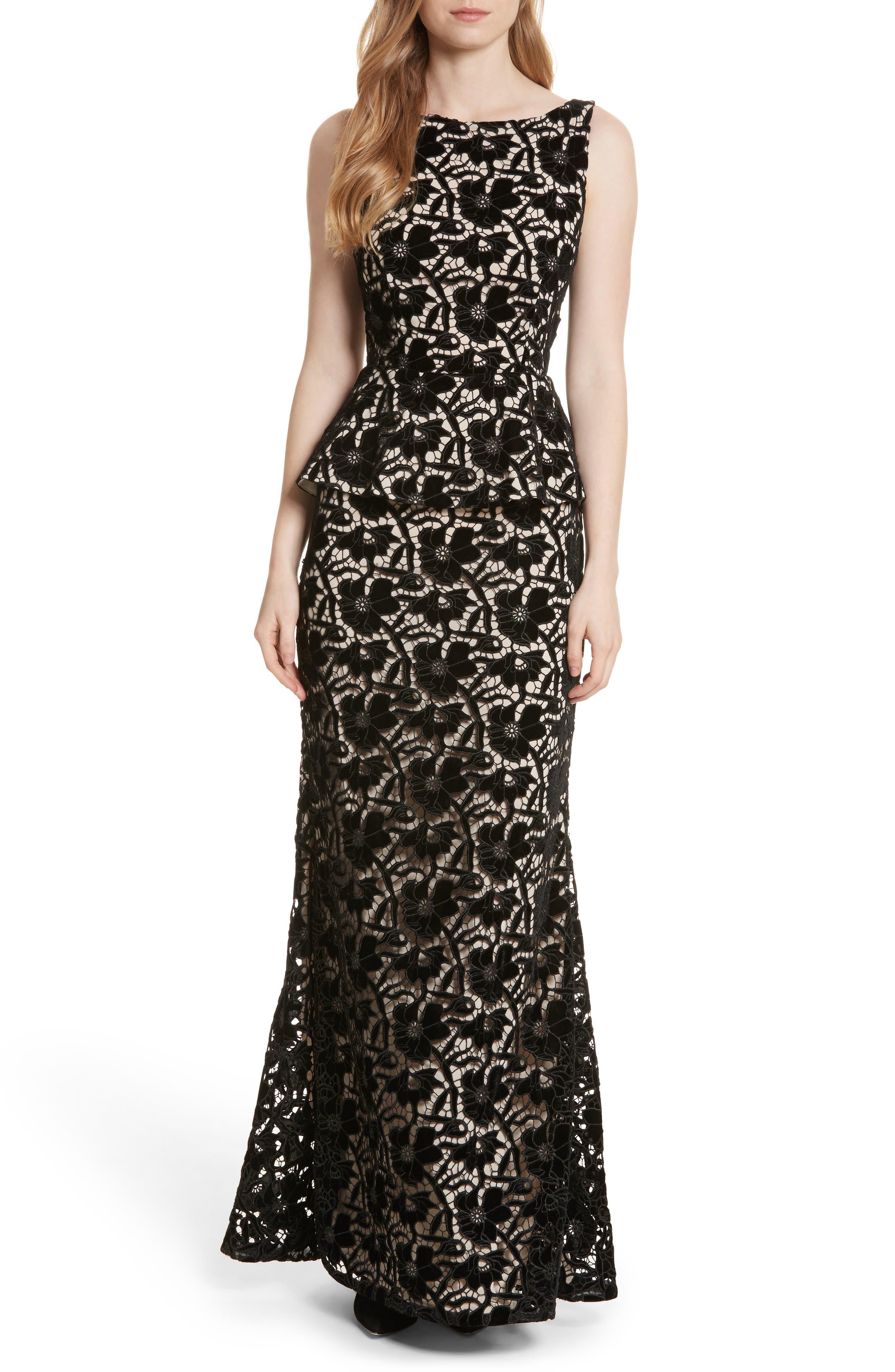 Jae Peplum Open Back Dress,                         Main,                         color, Black/ Sesame
