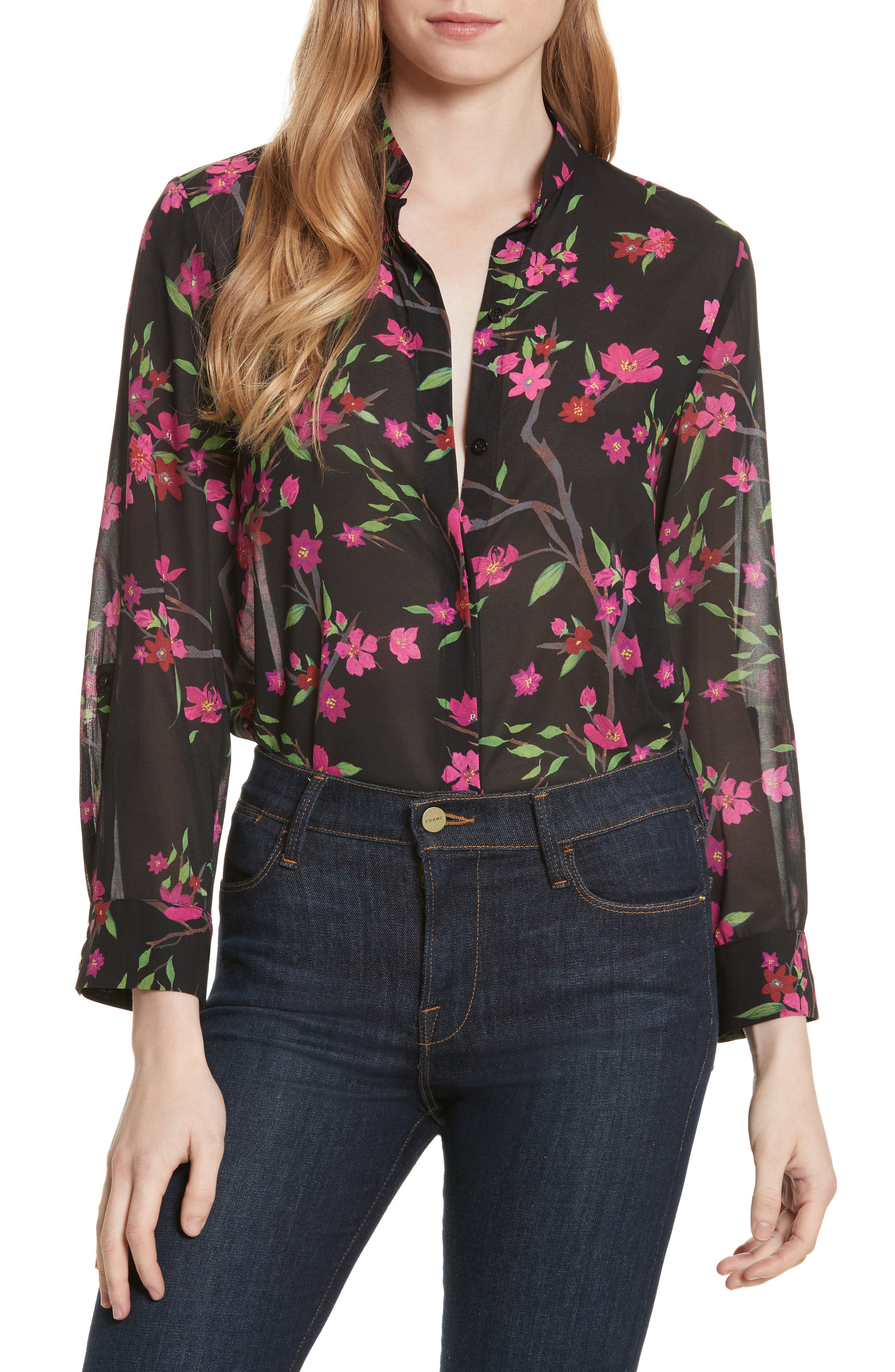 Eloise Mandarin Collar Blouse,                         Main,                         color, Sakura Floral/ Black