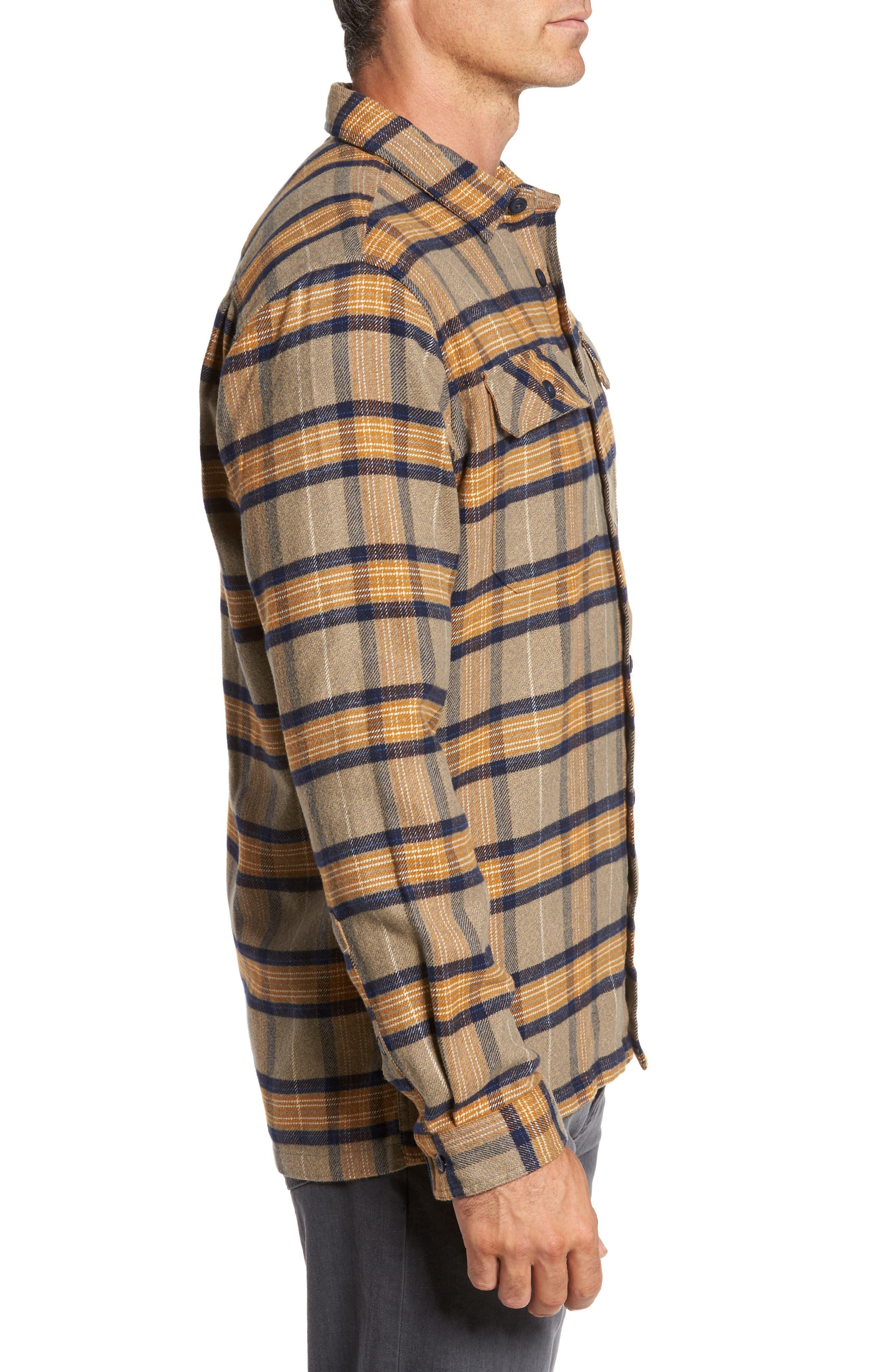 'Fjord' Regular Fit Organic Cotton Flannel Shirt,                             Alternate thumbnail 4, color,                             Migration Plaid Mojave Khaki