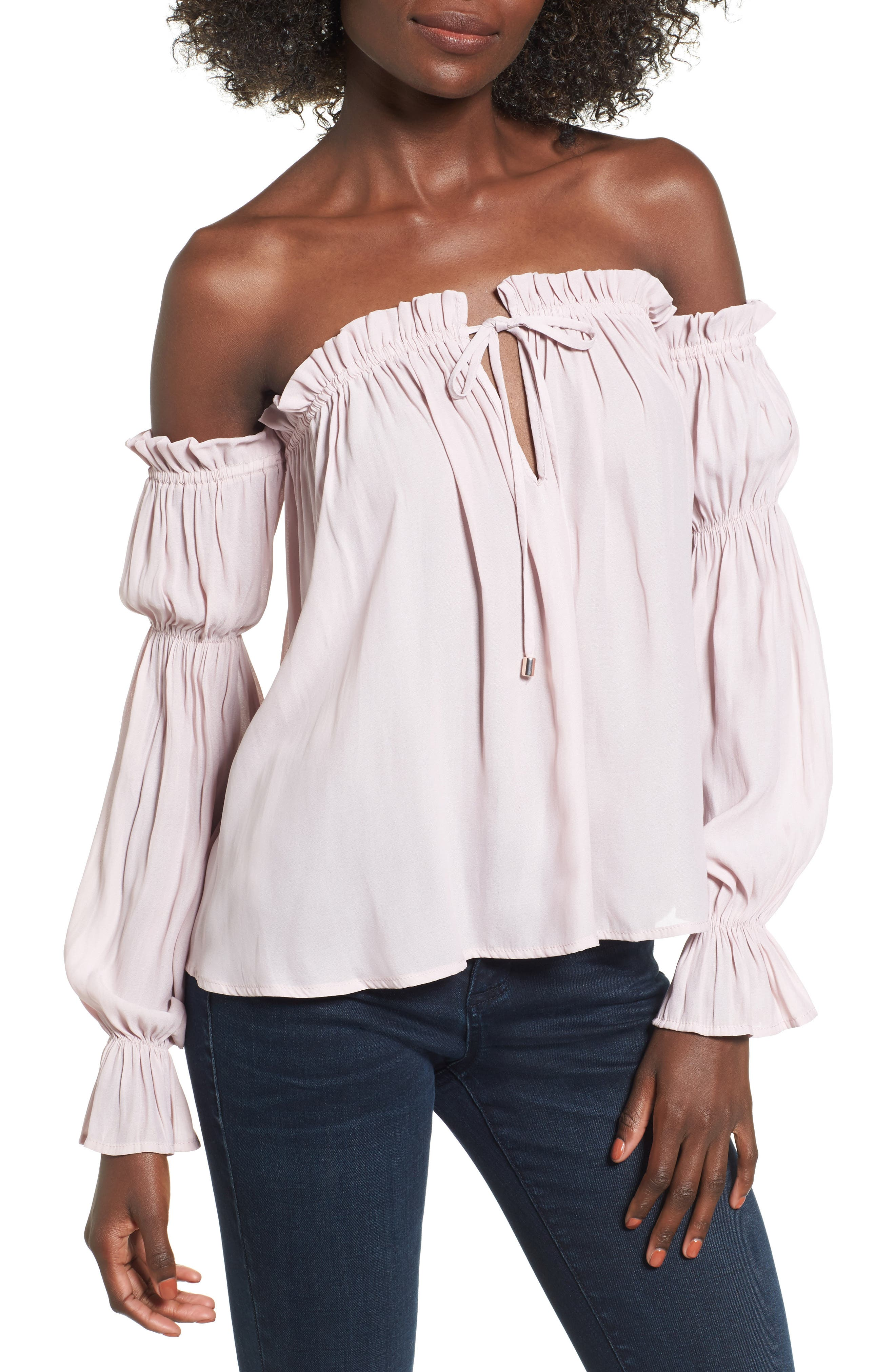 Socialite Pleated Off the Shoulder Blouse