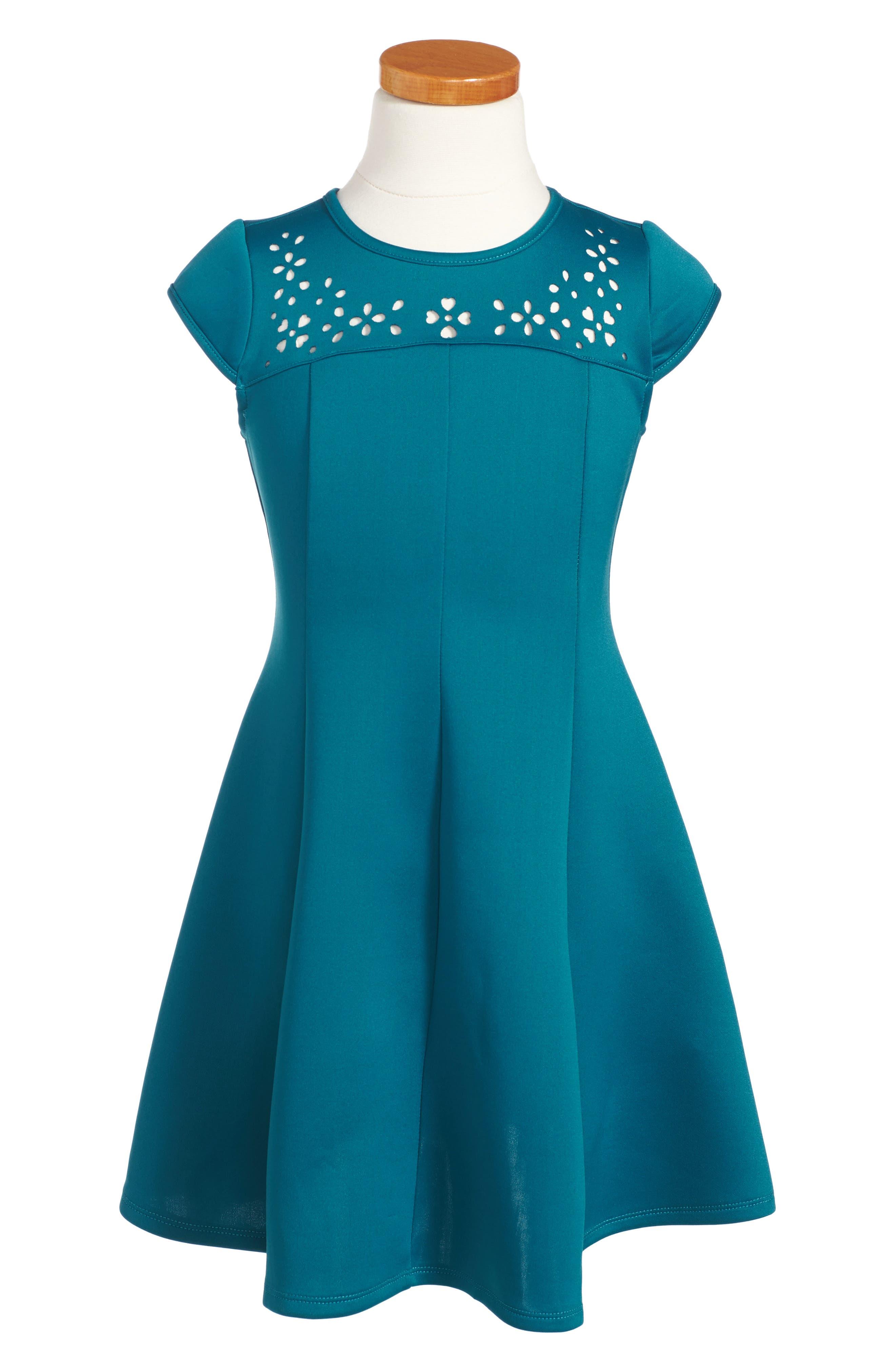 Alternate Image 1 Selected - Zunie Cutout Scuba Dress (Toddler Girls, Little Girls & Big Girls)