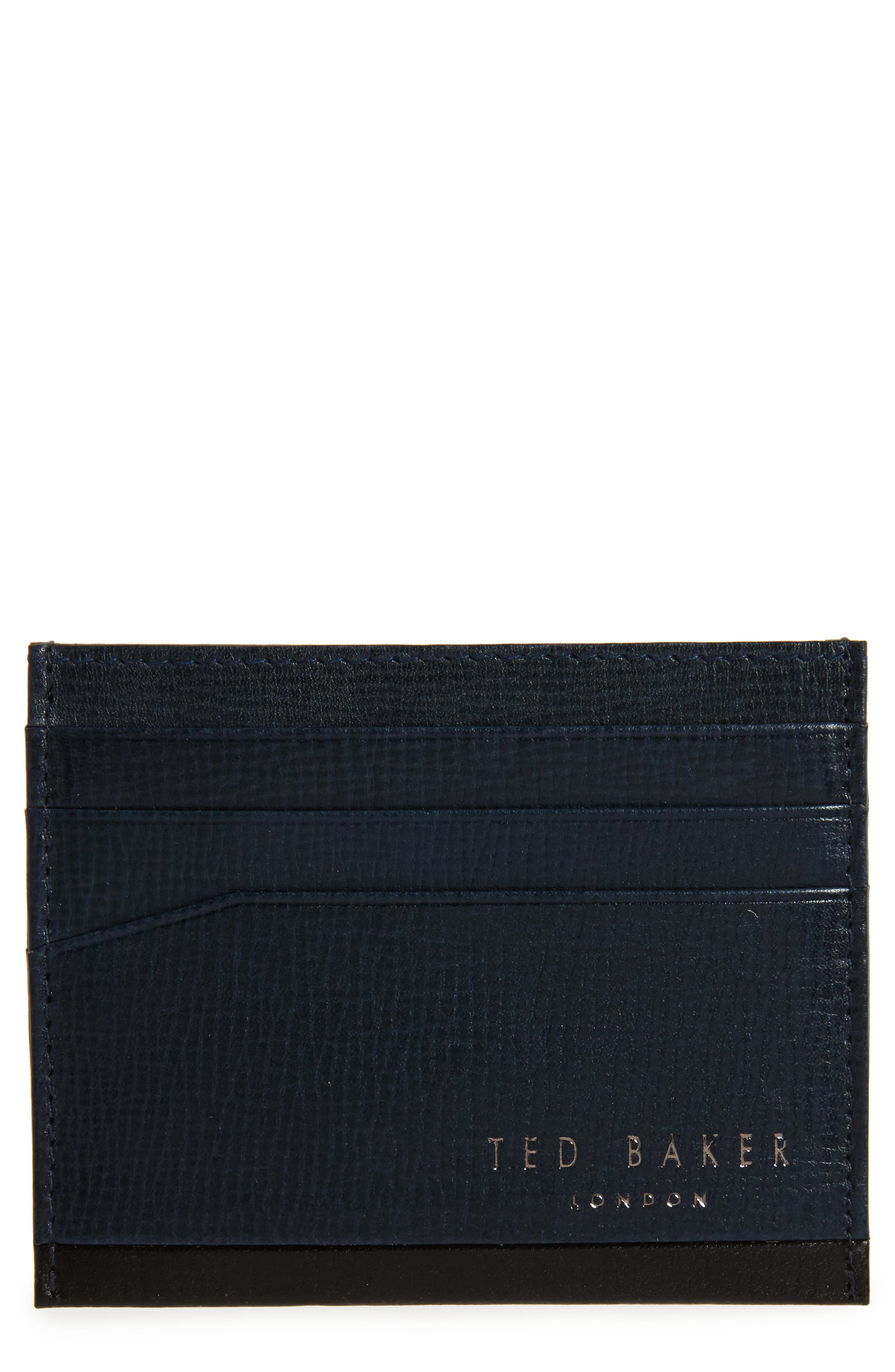 Leather Card Case,                             Main thumbnail 1, color,                             Navy