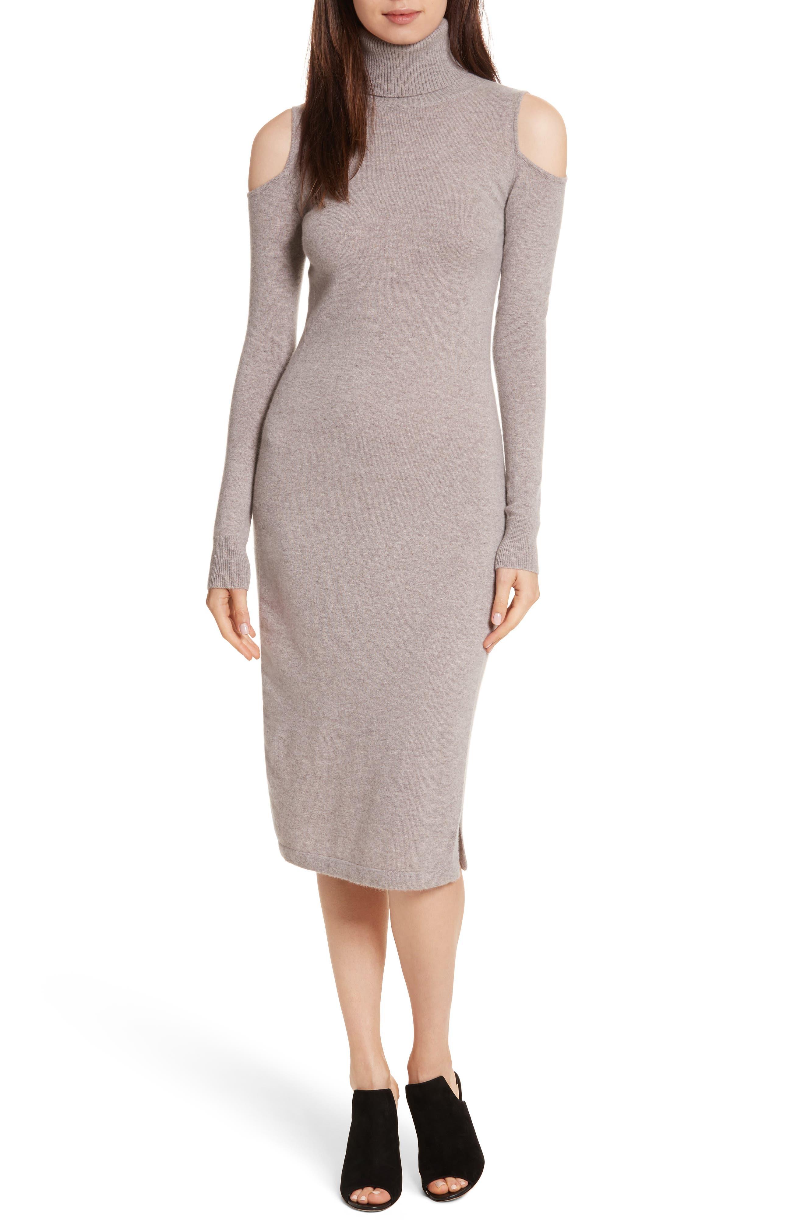 Cashmere Cold Shoulder Turtleneck Sweater Dress,                         Main,                         color, Putty