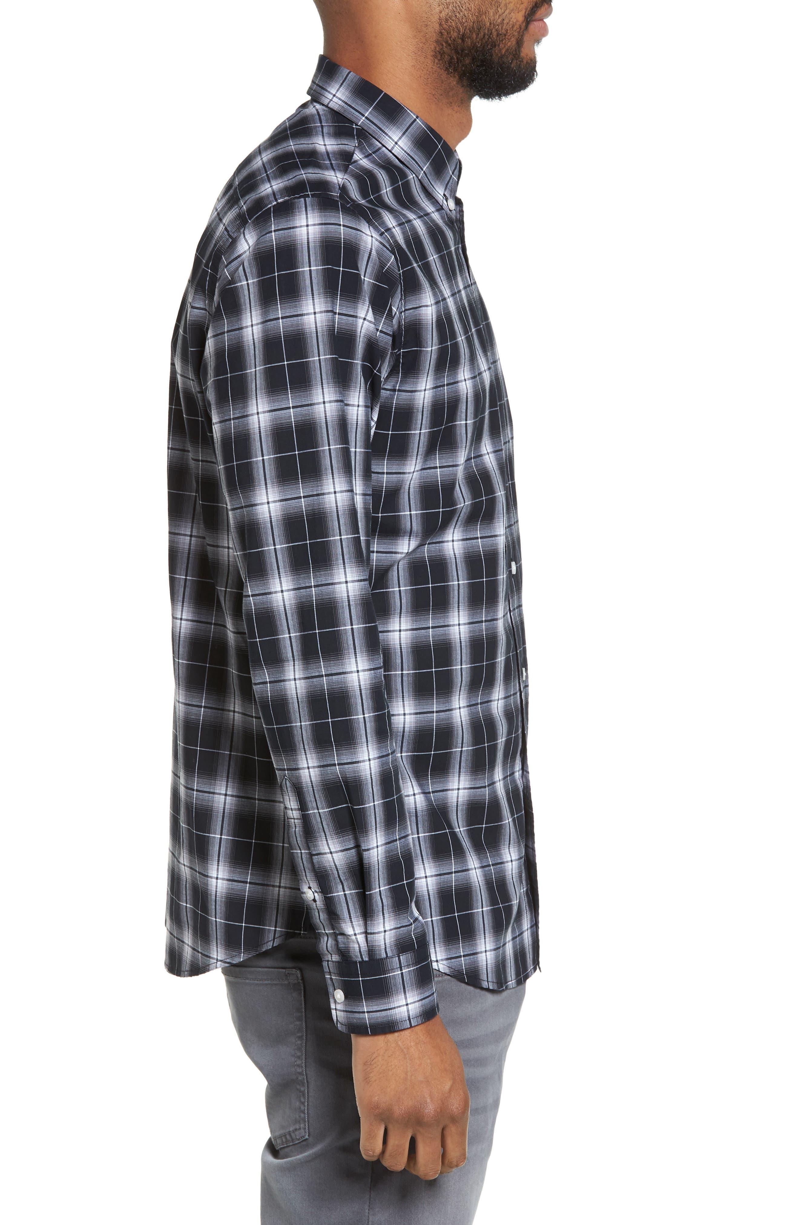 Alternate Image 3  - Slate & Stone Trim Fit Ombré Plaid Sport Shirt