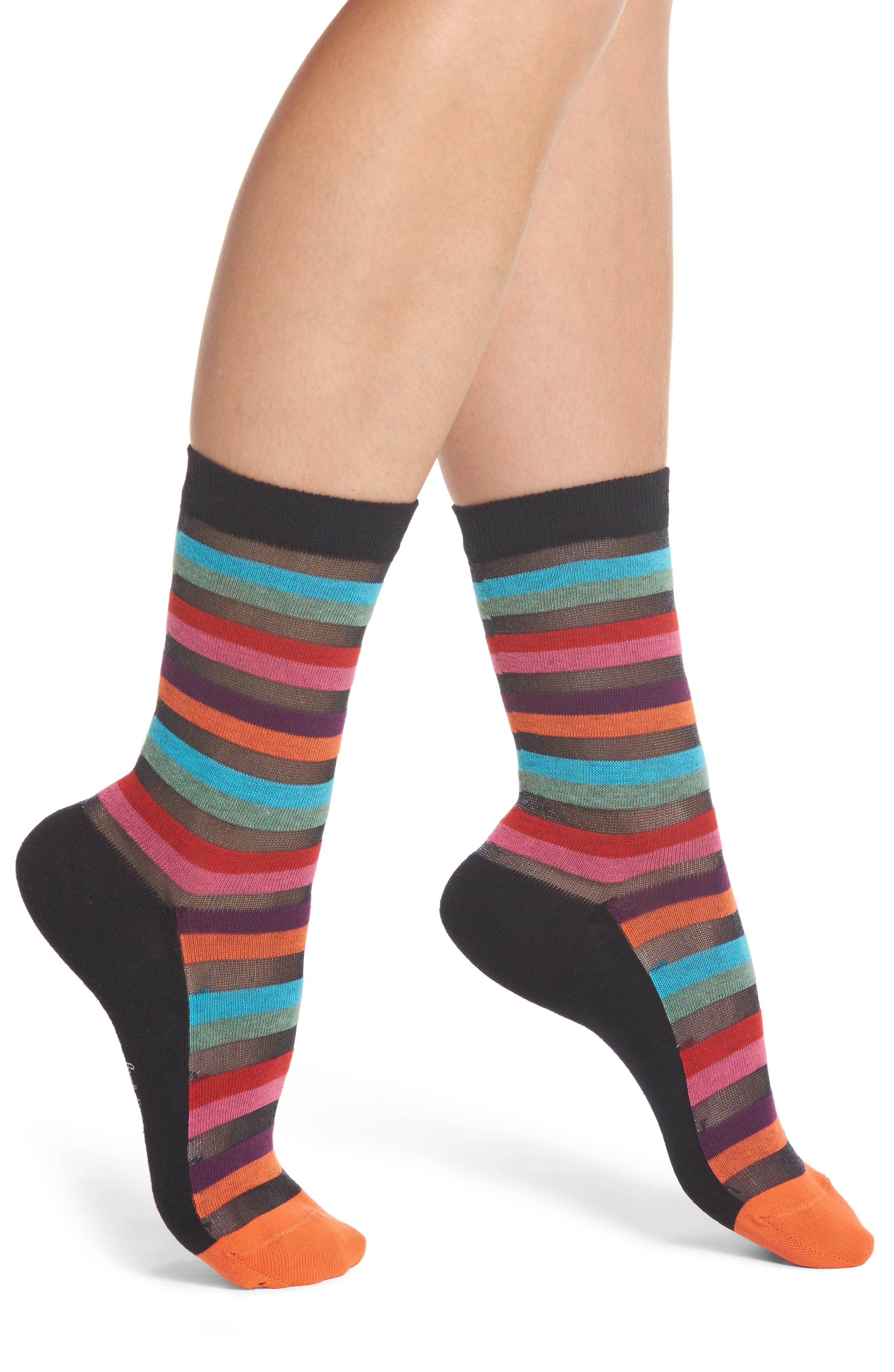 Felicity Rainbow Socks,                             Main thumbnail 1, color,                             Black Multi