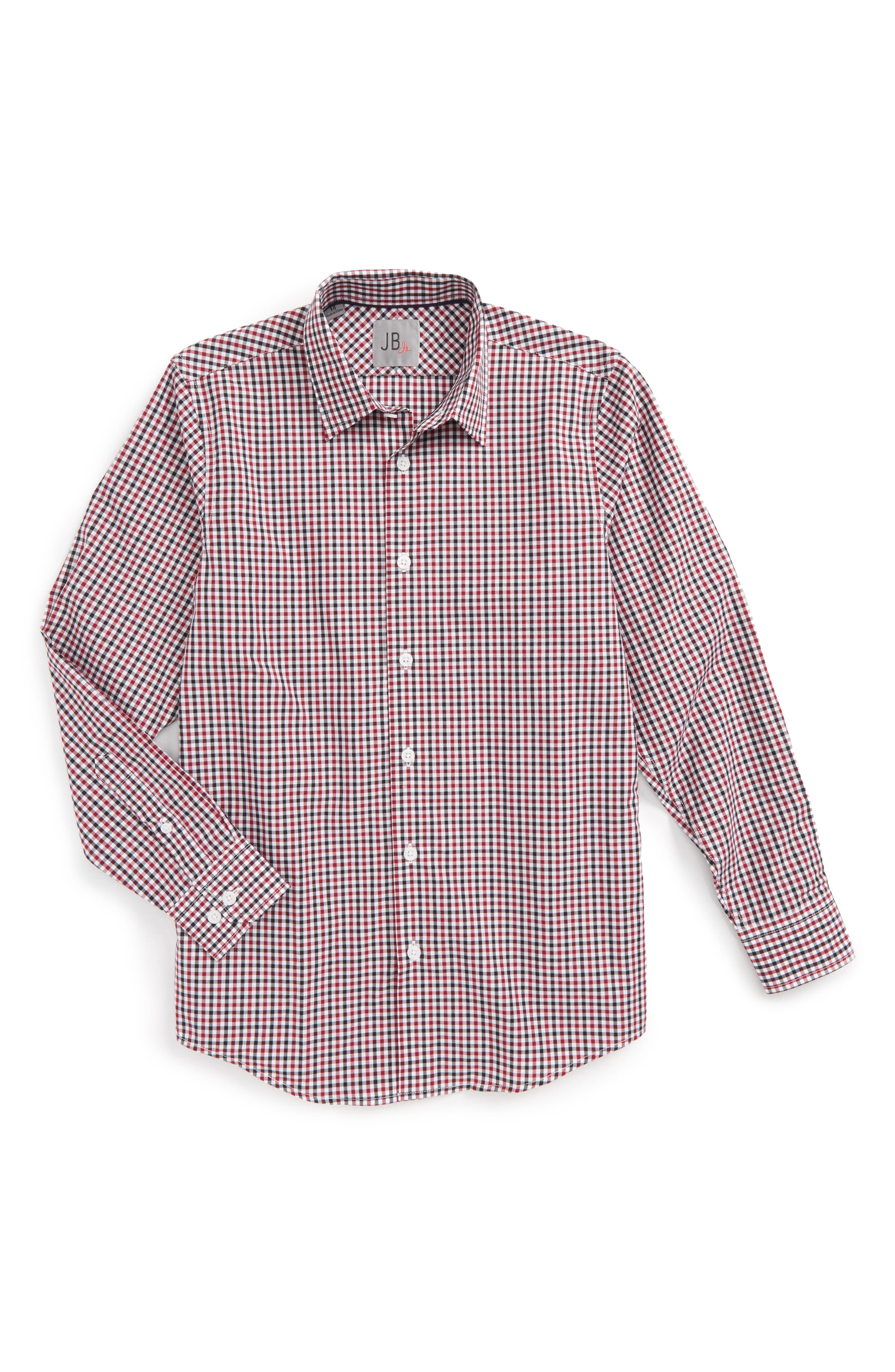 Gingham Dress Shirt,                         Main,                         color, Red/ Black