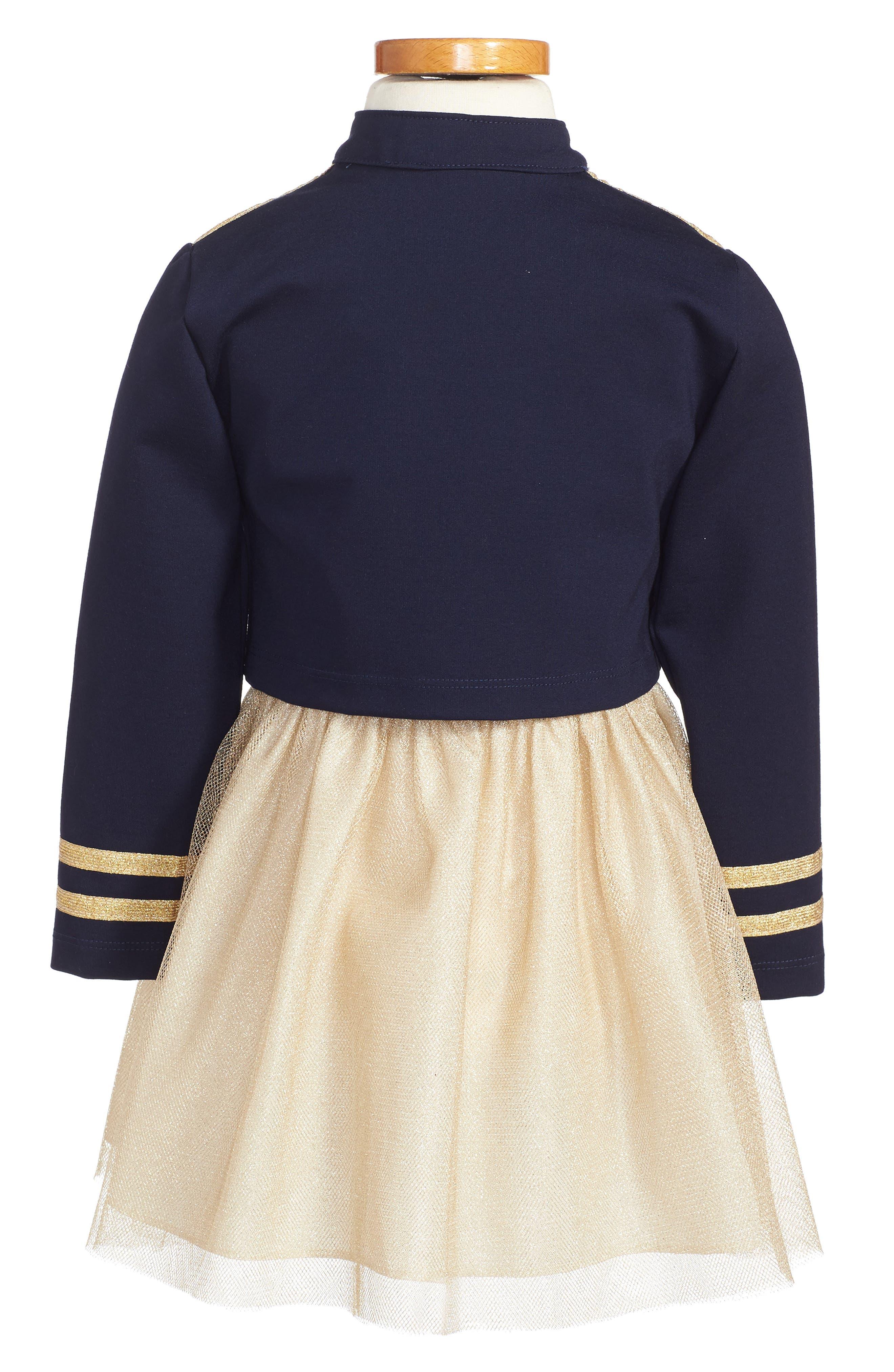 Majorette Jacket & Tank Dress Set,                             Alternate thumbnail 2, color,                             Navy/ Gold