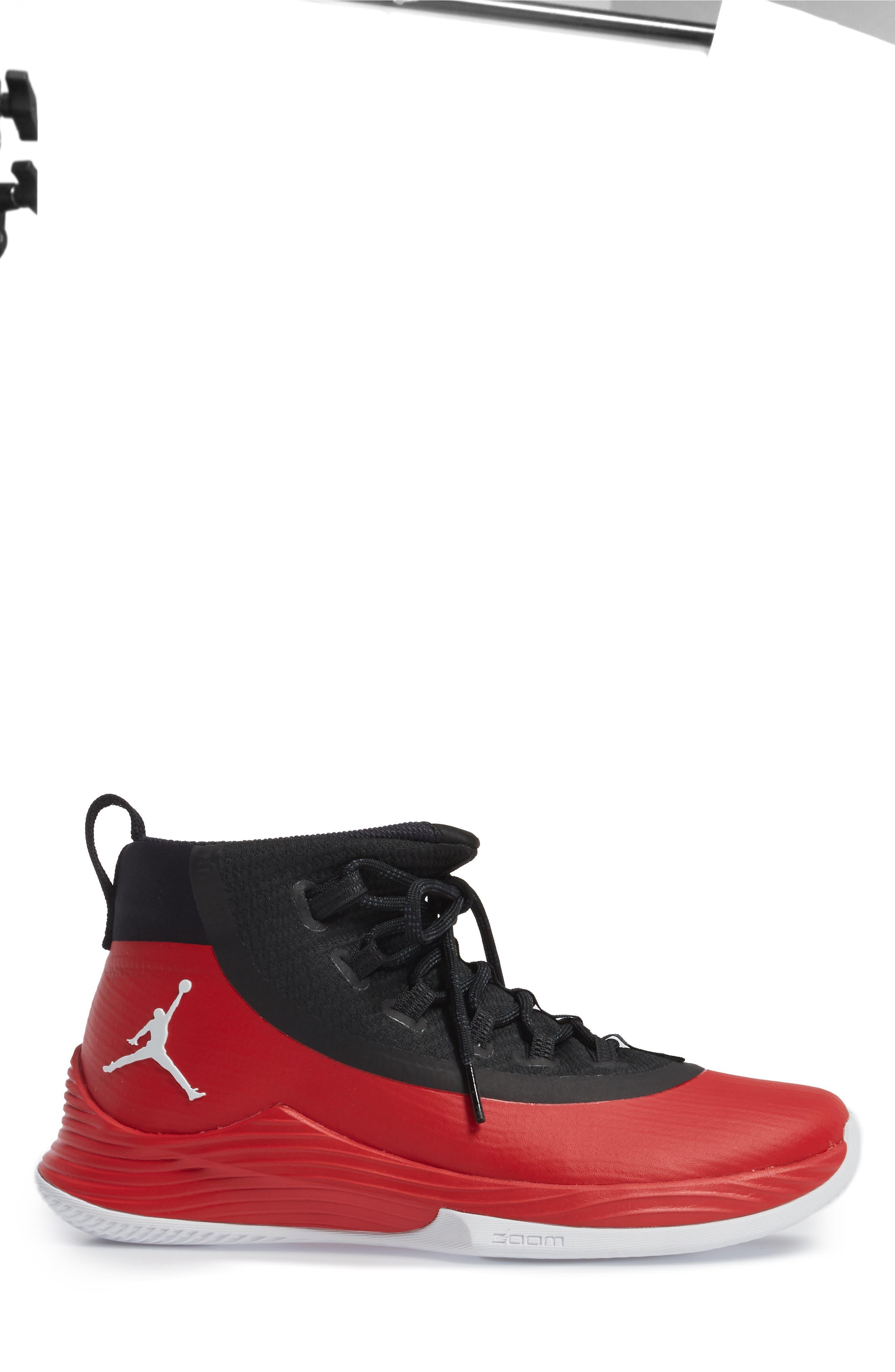Jordan Ultra Fly 2 Basketball Shoe,                             Alternate thumbnail 3, color,                             University Red/ White/ Black