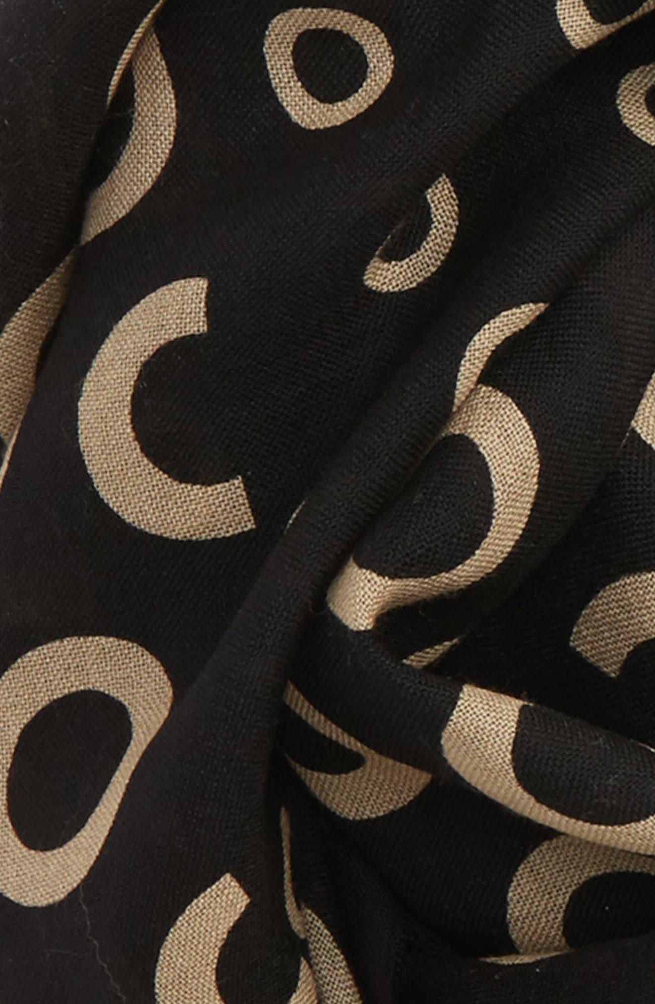 Dots & Rings Wool Scarf,                             Alternate thumbnail 3, color,                             Black Multi