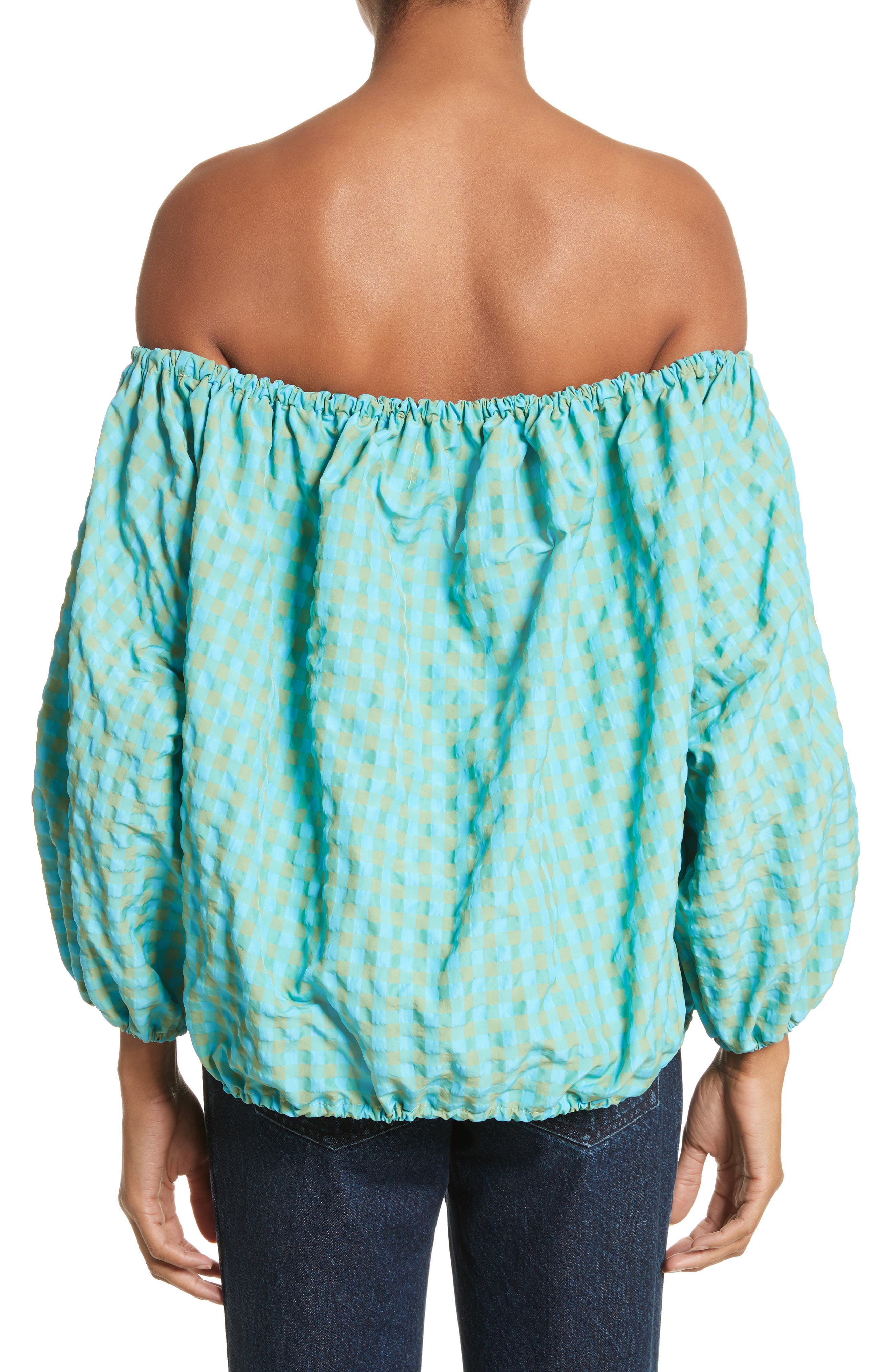 Marques'Almeida Off the Shoulder Gingham Top,                             Alternate thumbnail 2, color,                             Turquoise Gingham