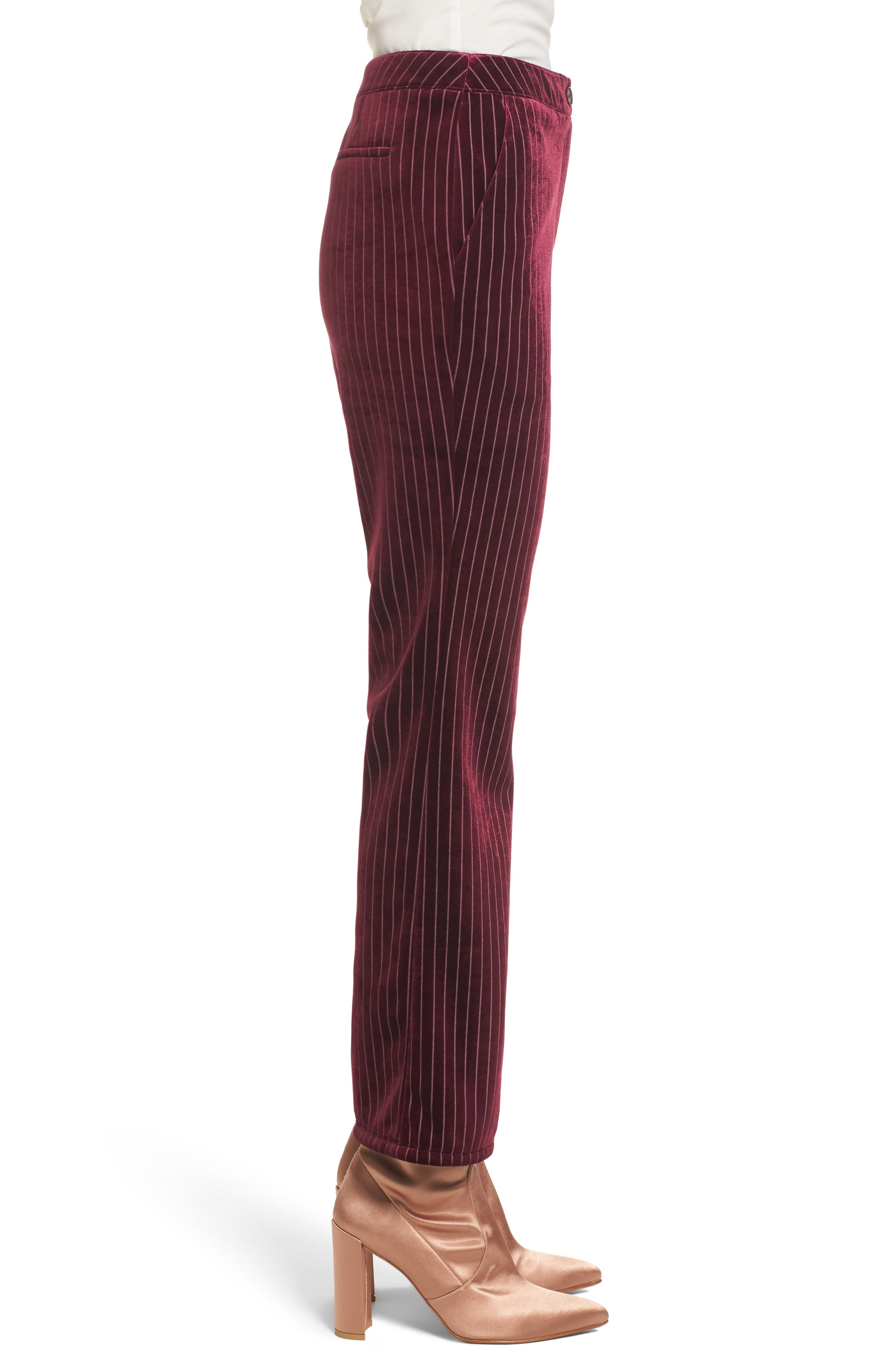 Velour Ankle Trousers,                             Alternate thumbnail 3, color,                             Red Tannin Dotted Stripe