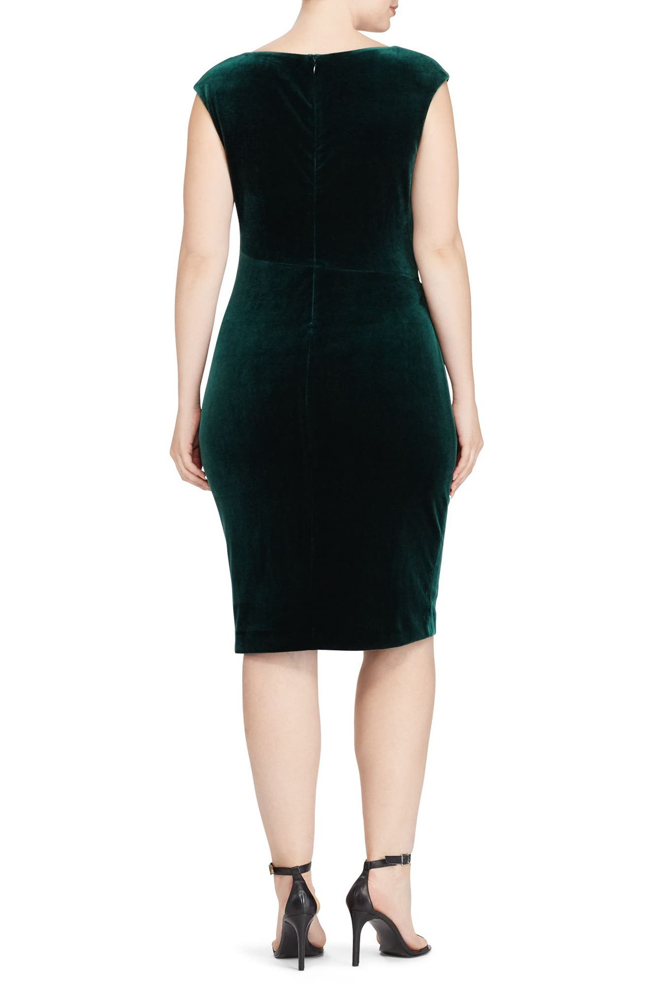 Alternate Image 2  - Lauren Ralph Lauren Velvet Sheath Dress (Plus Size)