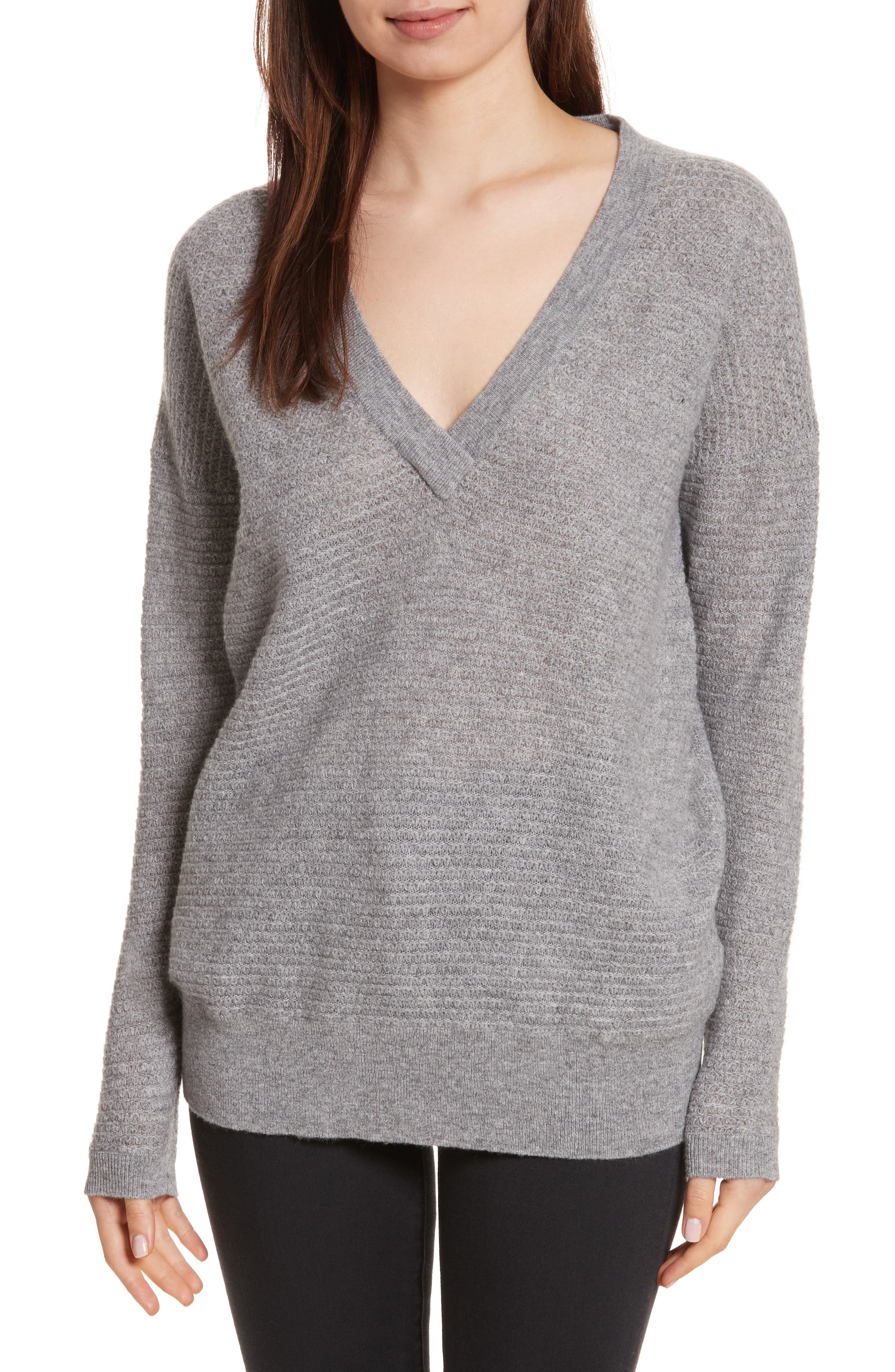 Cashmere V-Neck Sweater,                             Main thumbnail 1, color,                             Grey Marl