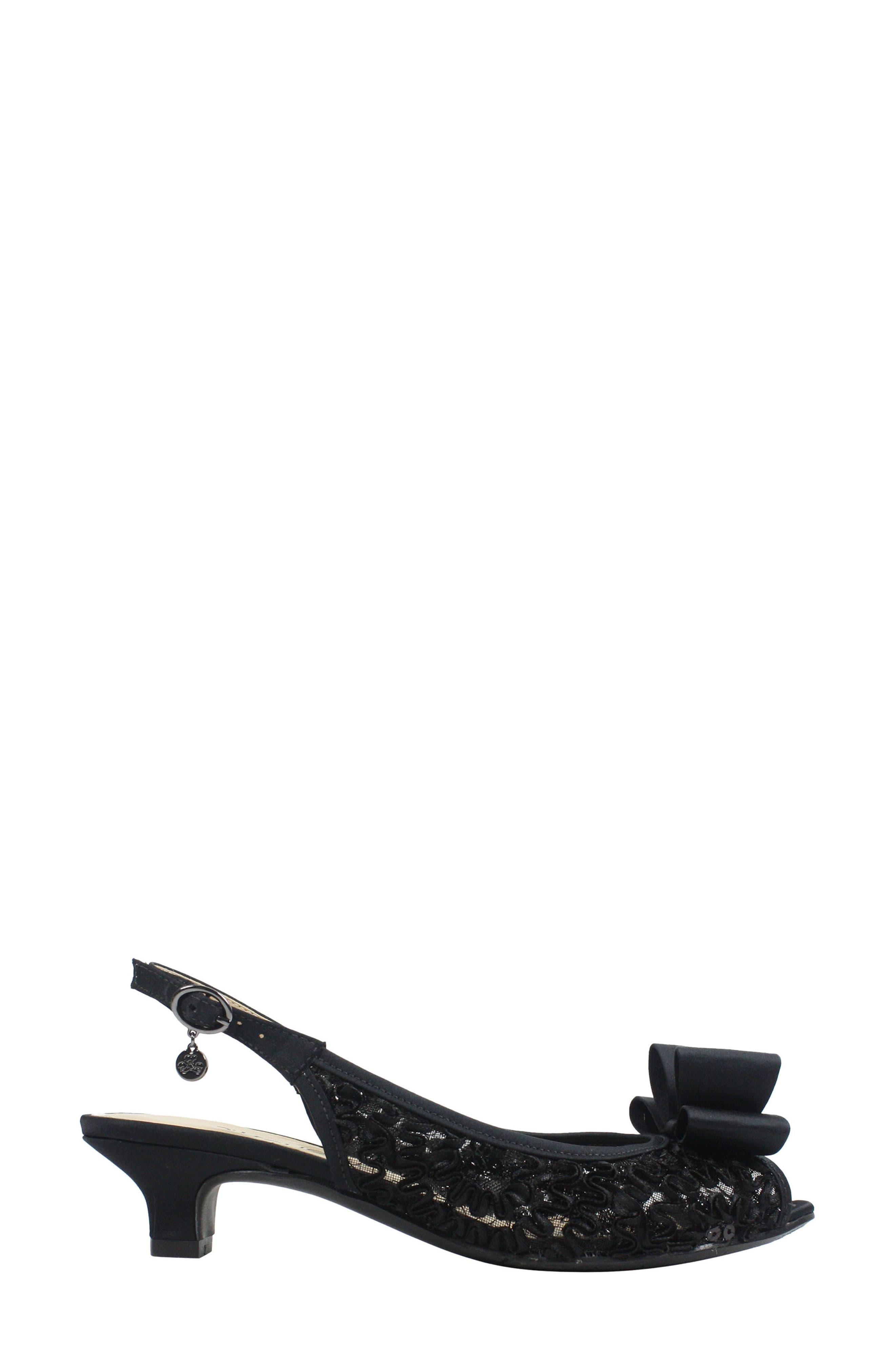 Landan Bow Slingback Sandal,                             Alternate thumbnail 3, color,                             Black Lace