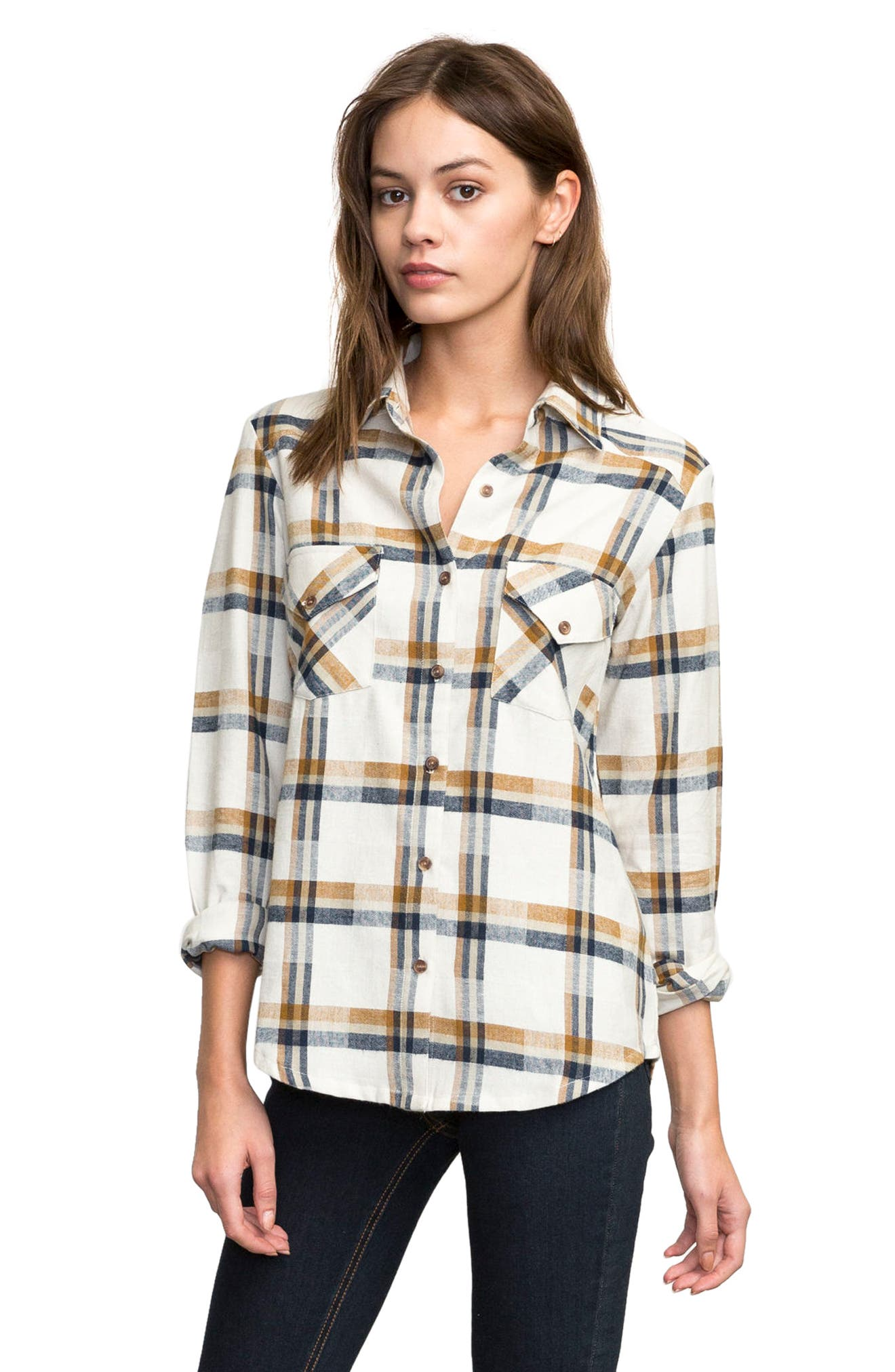 Plaid Flannel Shirt,                         Main,                         color, Slb - Silver Bleach