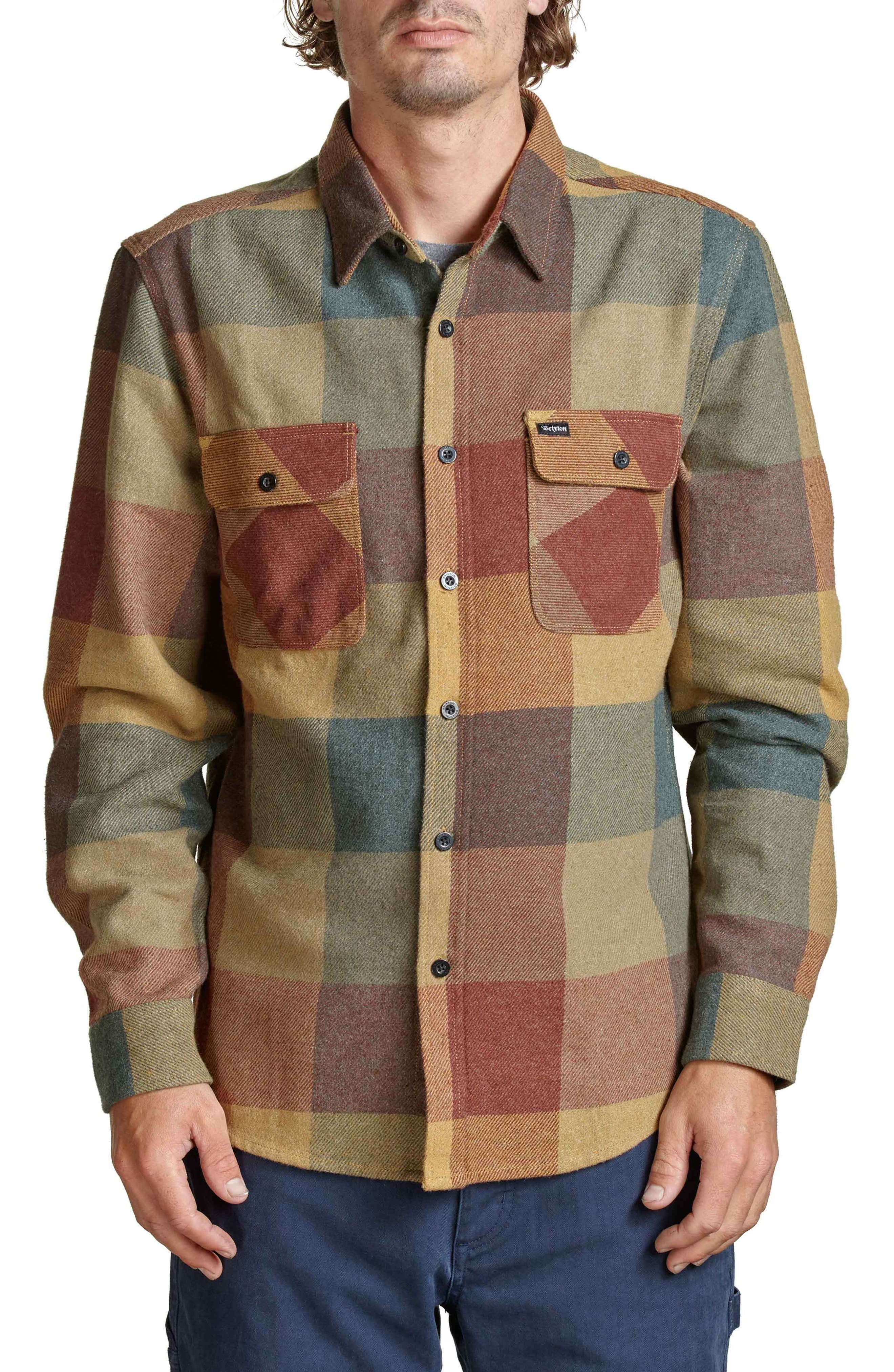 Bowery Flannel Shirt,                             Main thumbnail 1, color,                             Rust/ Copper