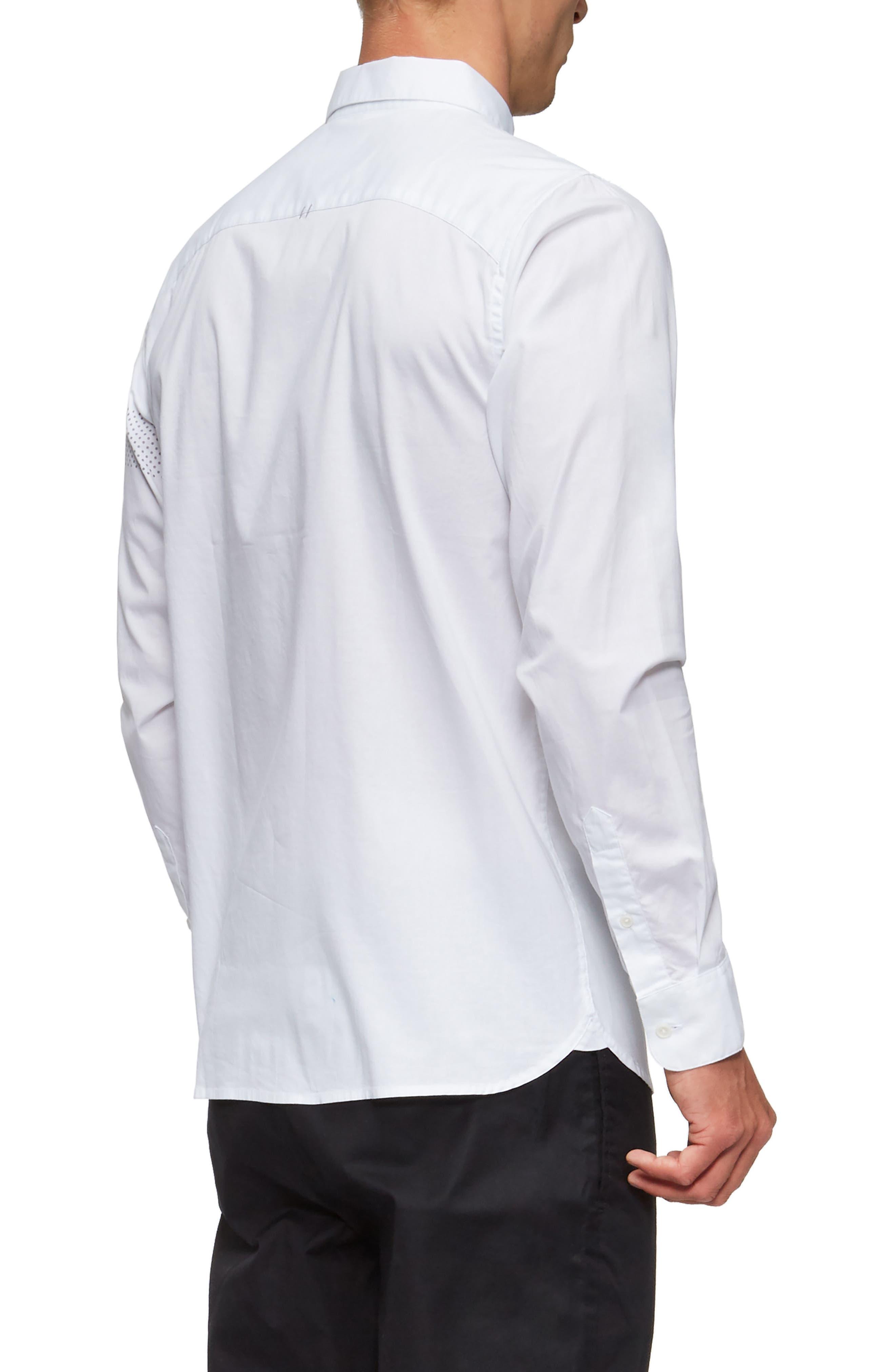 Bexley Long Sleeve Sport Shirt,                             Alternate thumbnail 2, color,                             White/ Grey