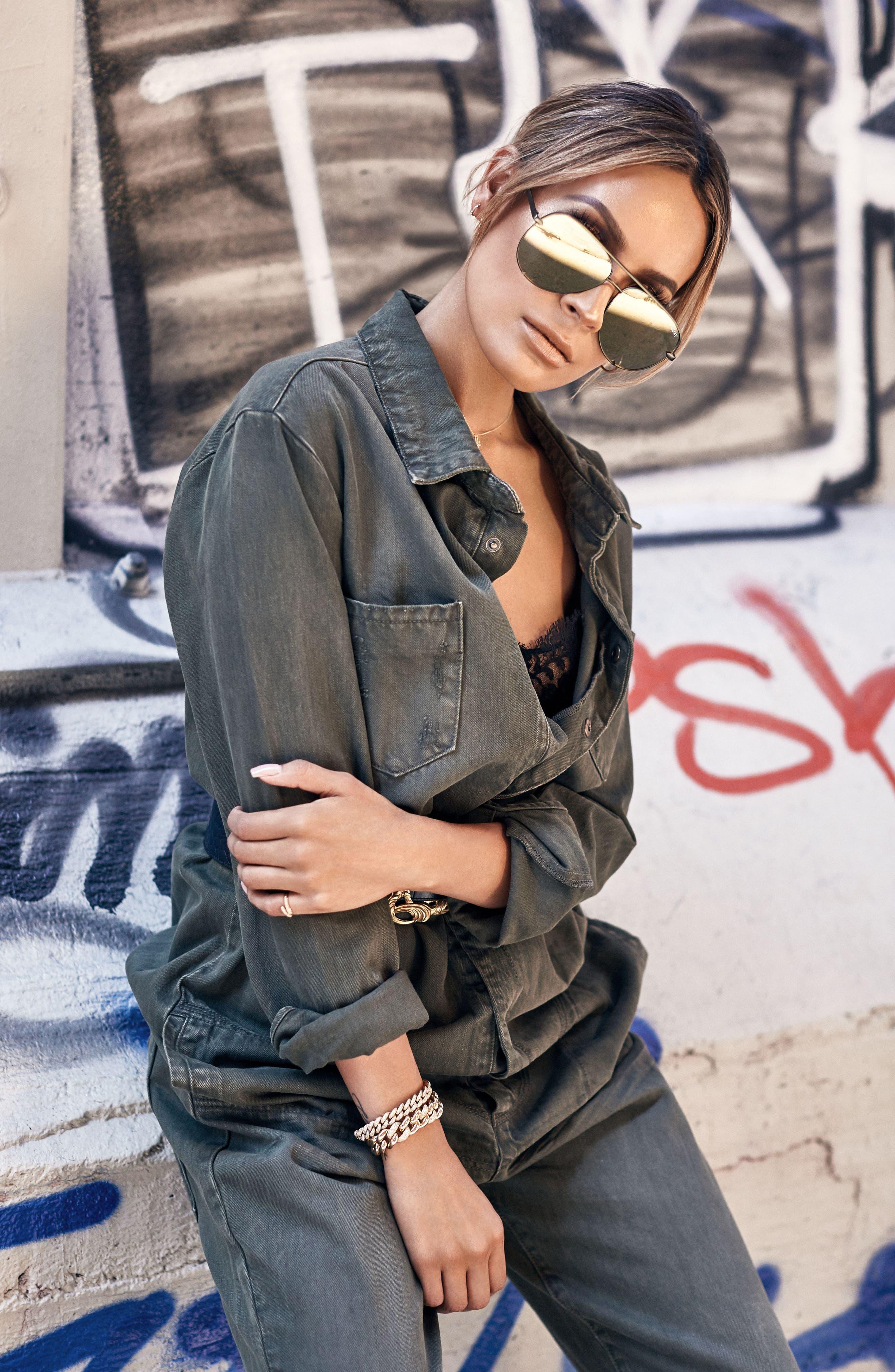 x Desi Perkins High Key 60mm Aviator Sunglasses,                             Alternate thumbnail 4, color,                             Green/ Gold