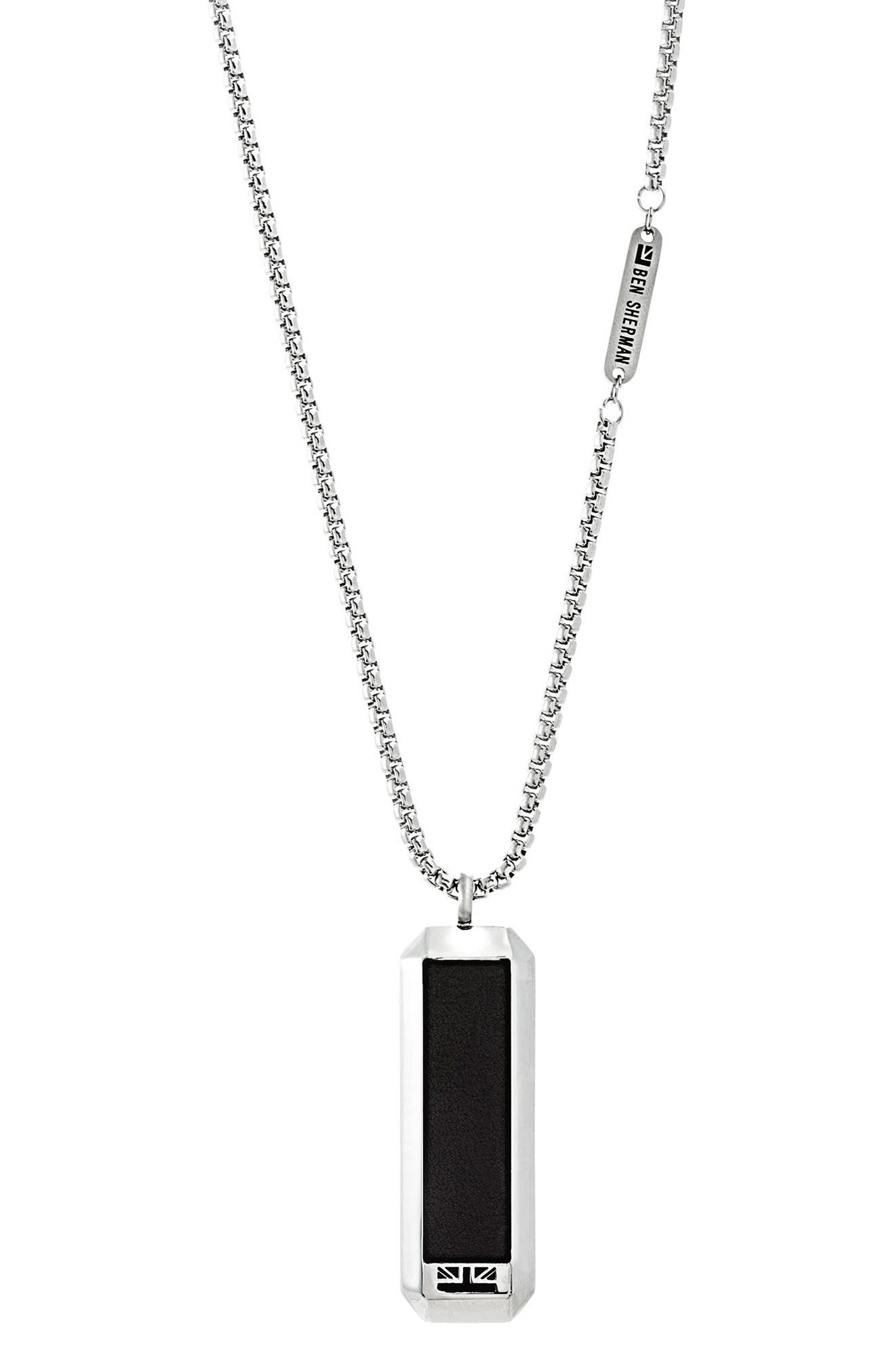 Main Image - Ben Sherman Leather Dog Tag Necklace