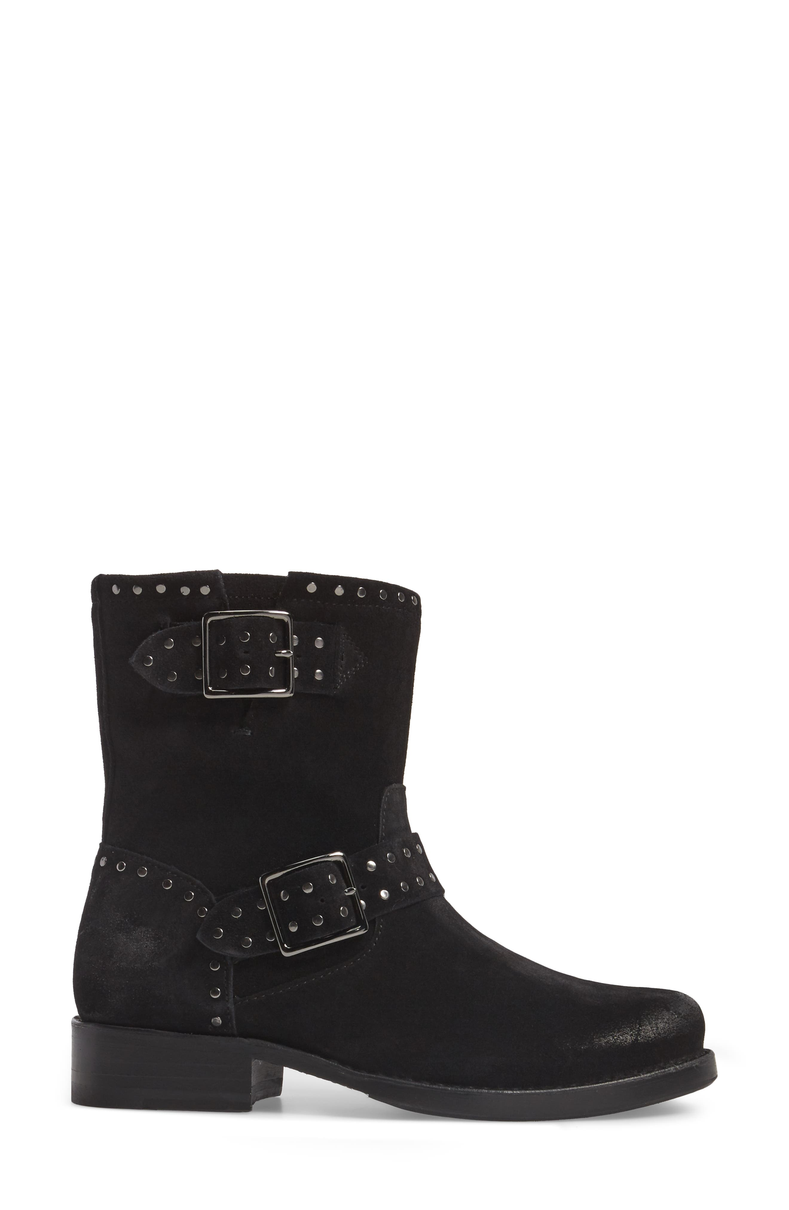Vicky Stud Engineer Boot,                             Alternate thumbnail 3, color,                             Black Suede