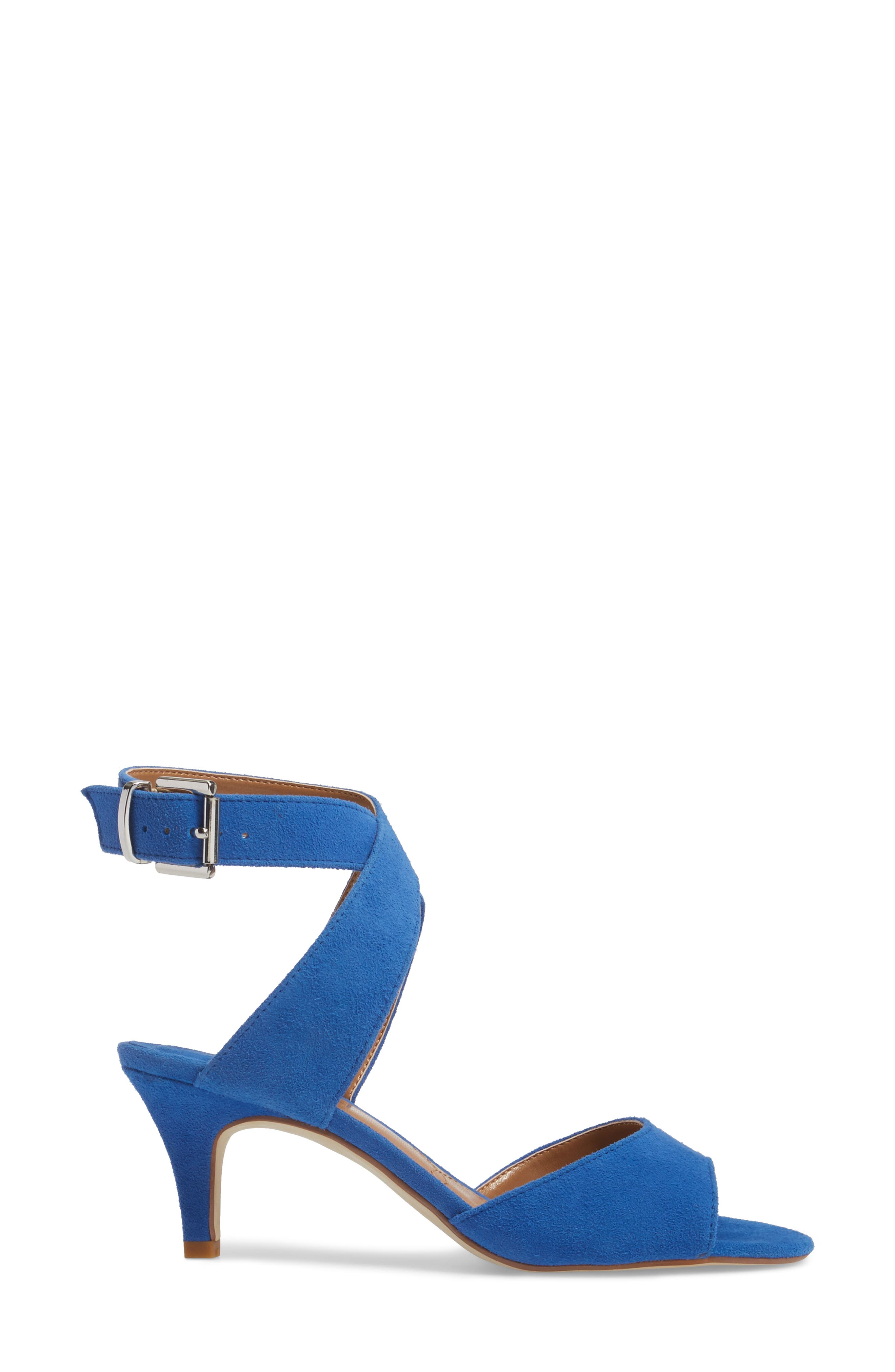 'Soncino' Ankle Strap Sandal,                             Alternate thumbnail 3, color,                             Blue Fabric