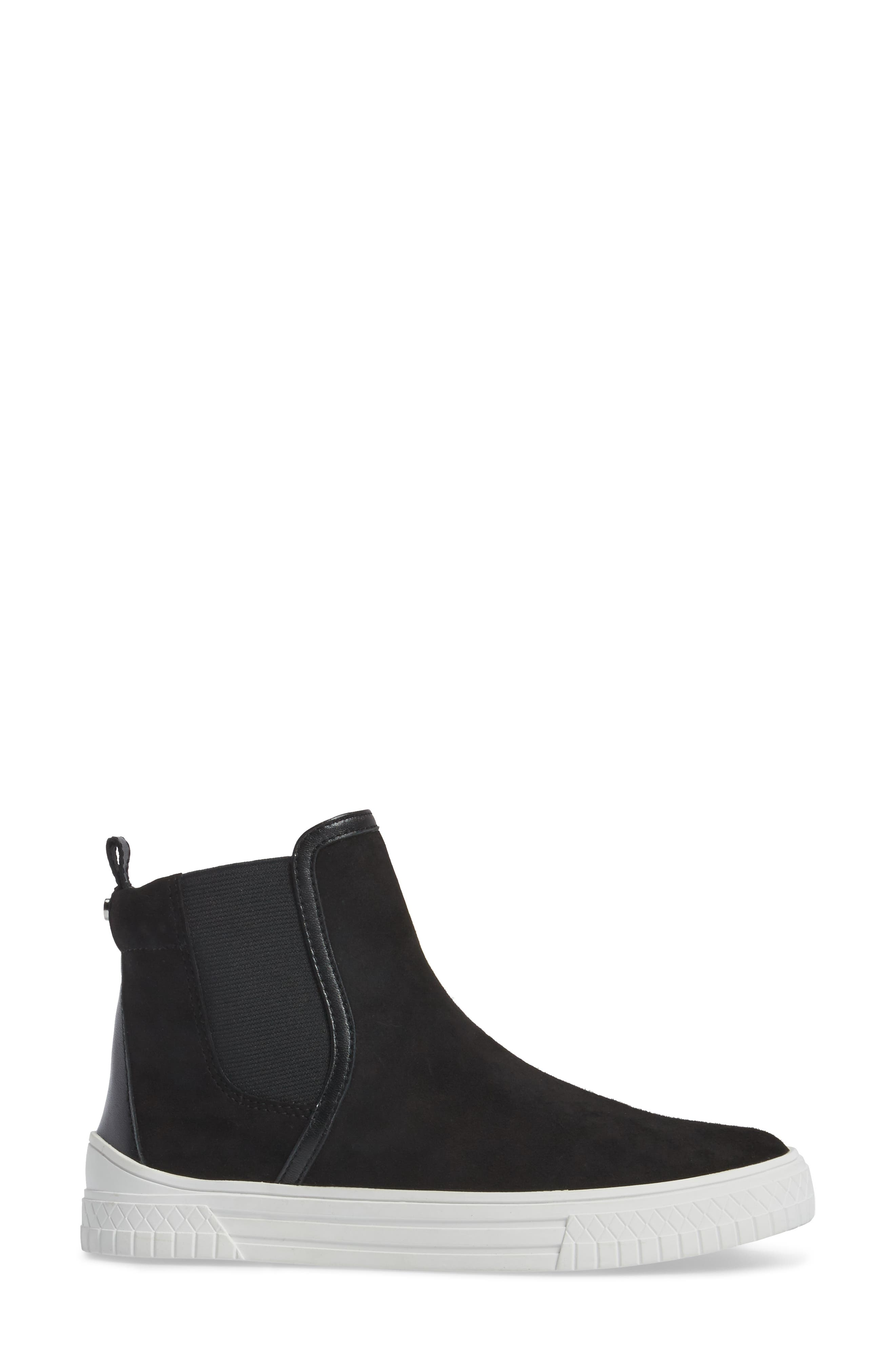 Gage Chelsea Boot,                             Alternate thumbnail 3, color,                             Black Suede