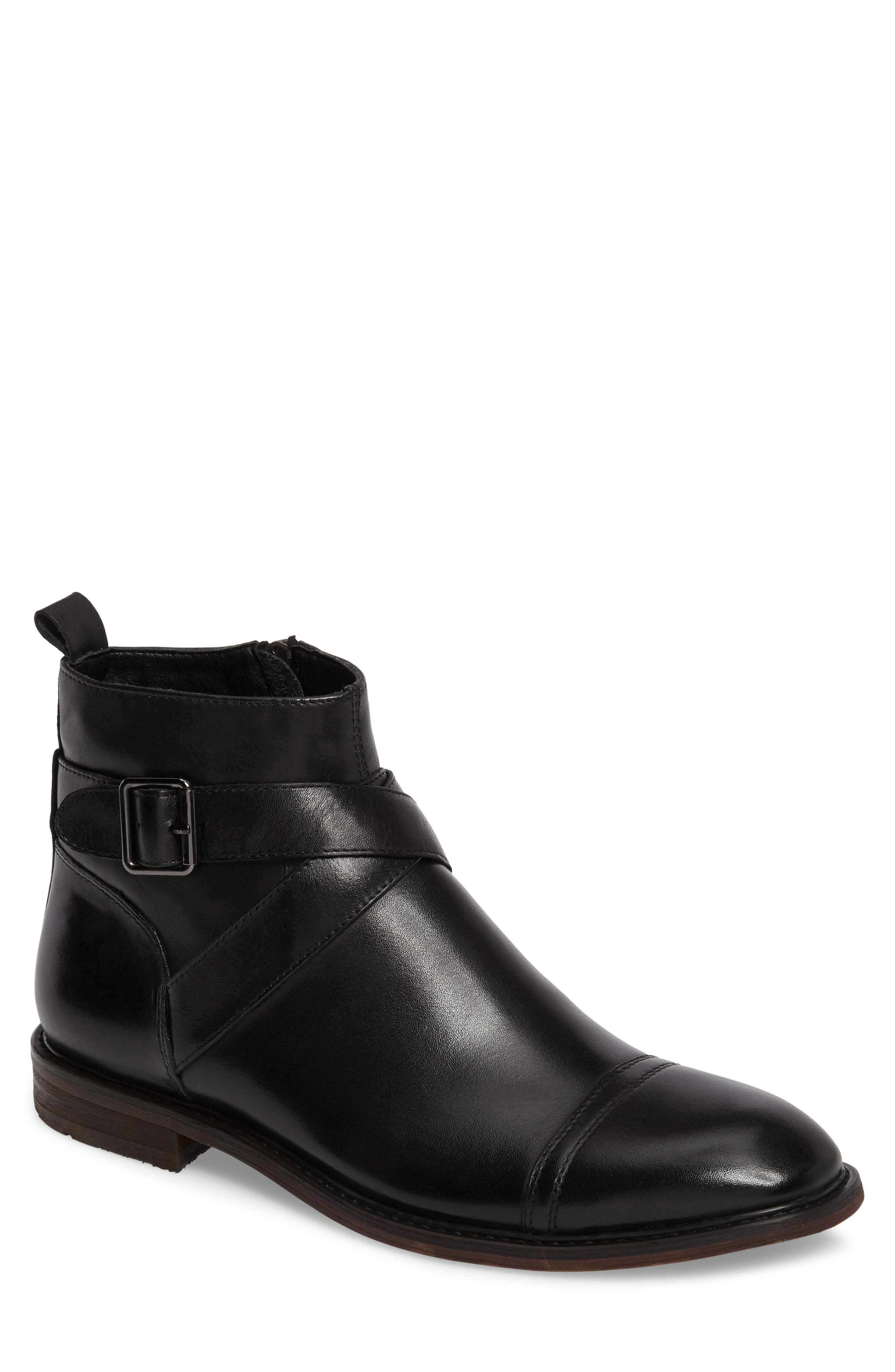 Edmond Zip Boot,                         Main,                         color, Black Leather