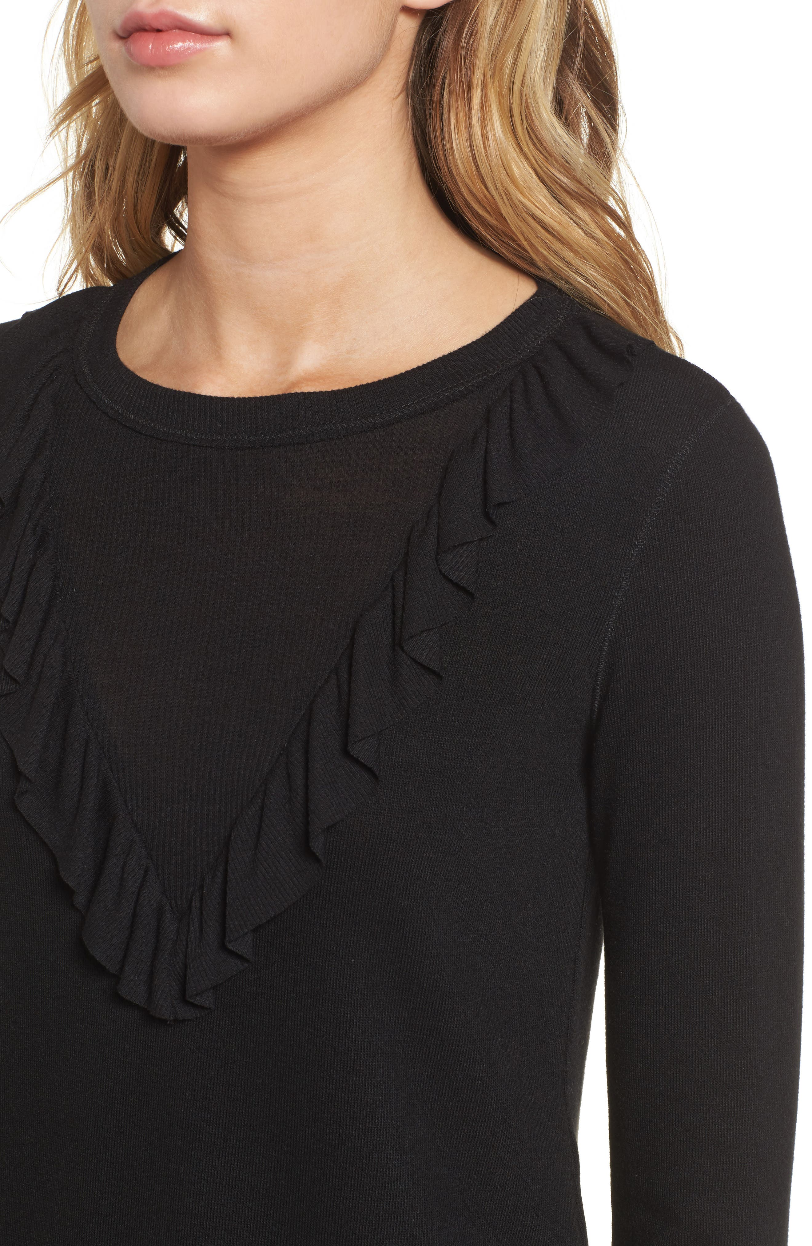 Sylvie Ruffle Jersey Top,                             Alternate thumbnail 4, color,                             Black