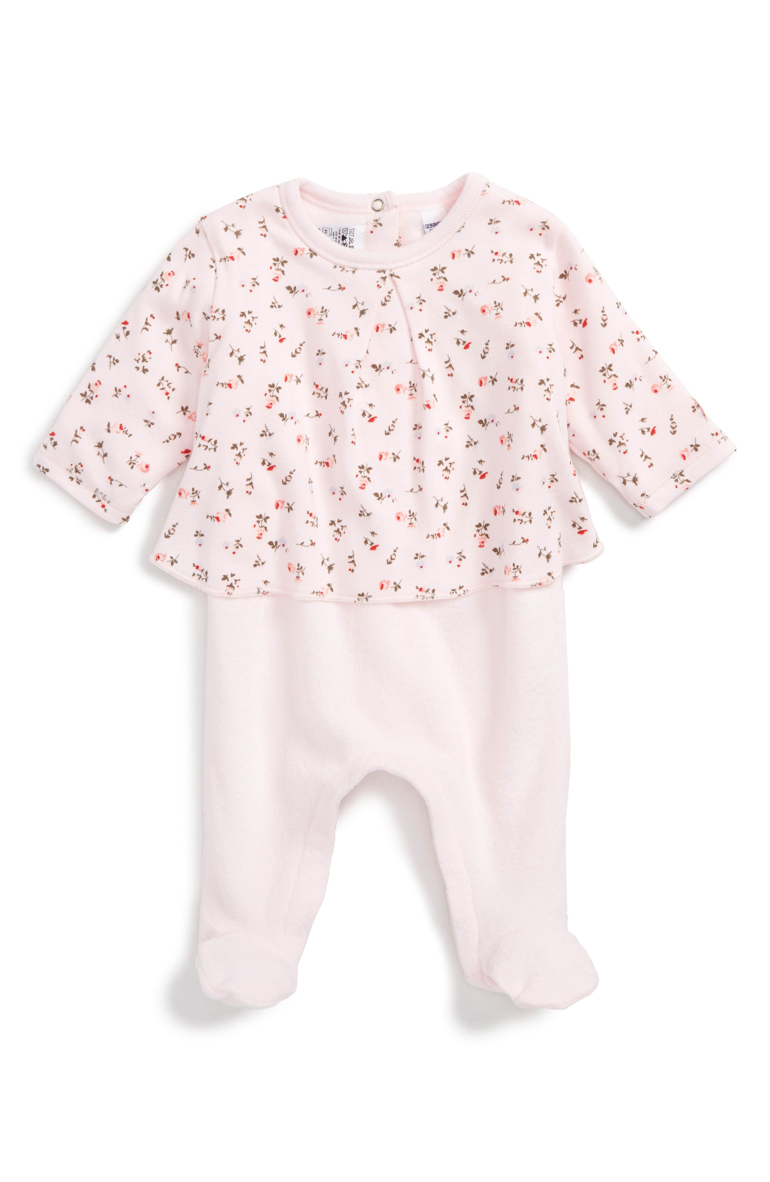 Main Image - Petit Bateau French Terry Footie (Baby Girls)