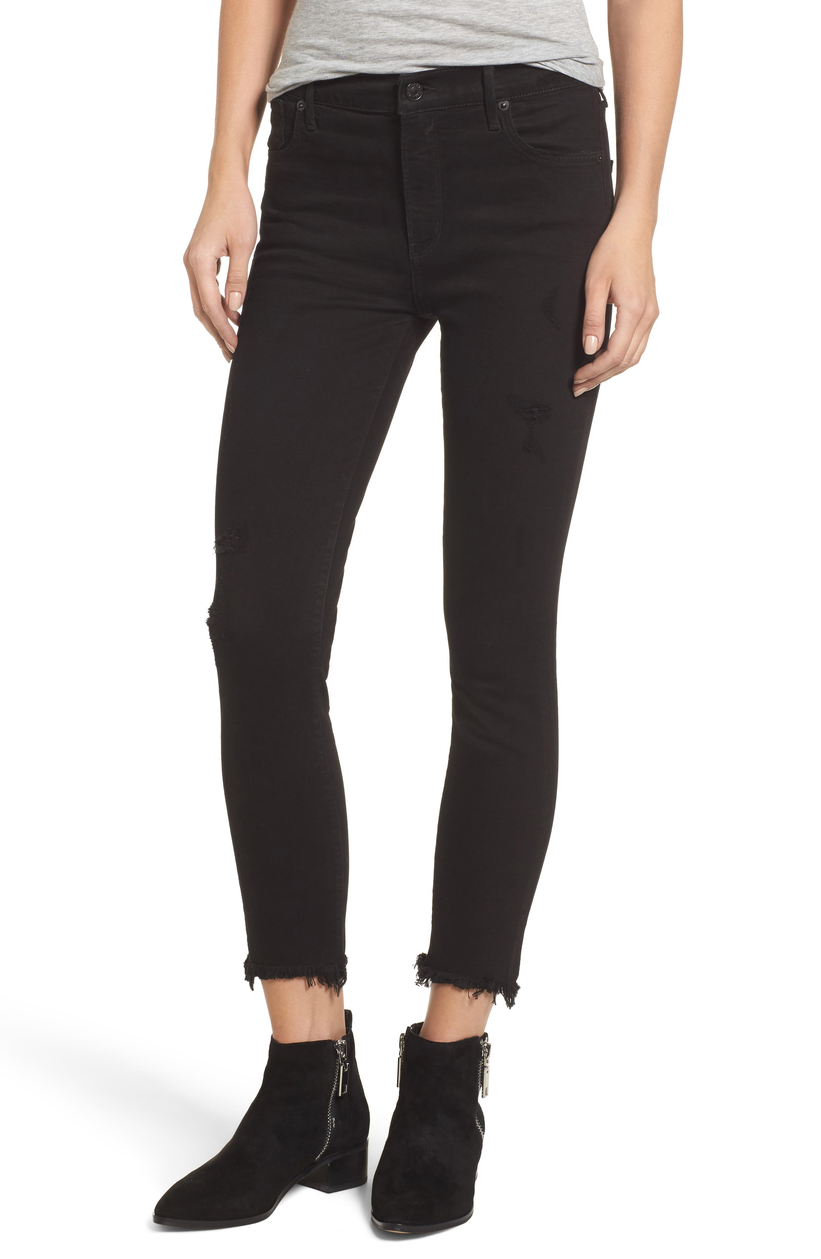 Sophie Crop High Rise Skinny Jeans,                             Main thumbnail 1, color,                             Harlow Destruct