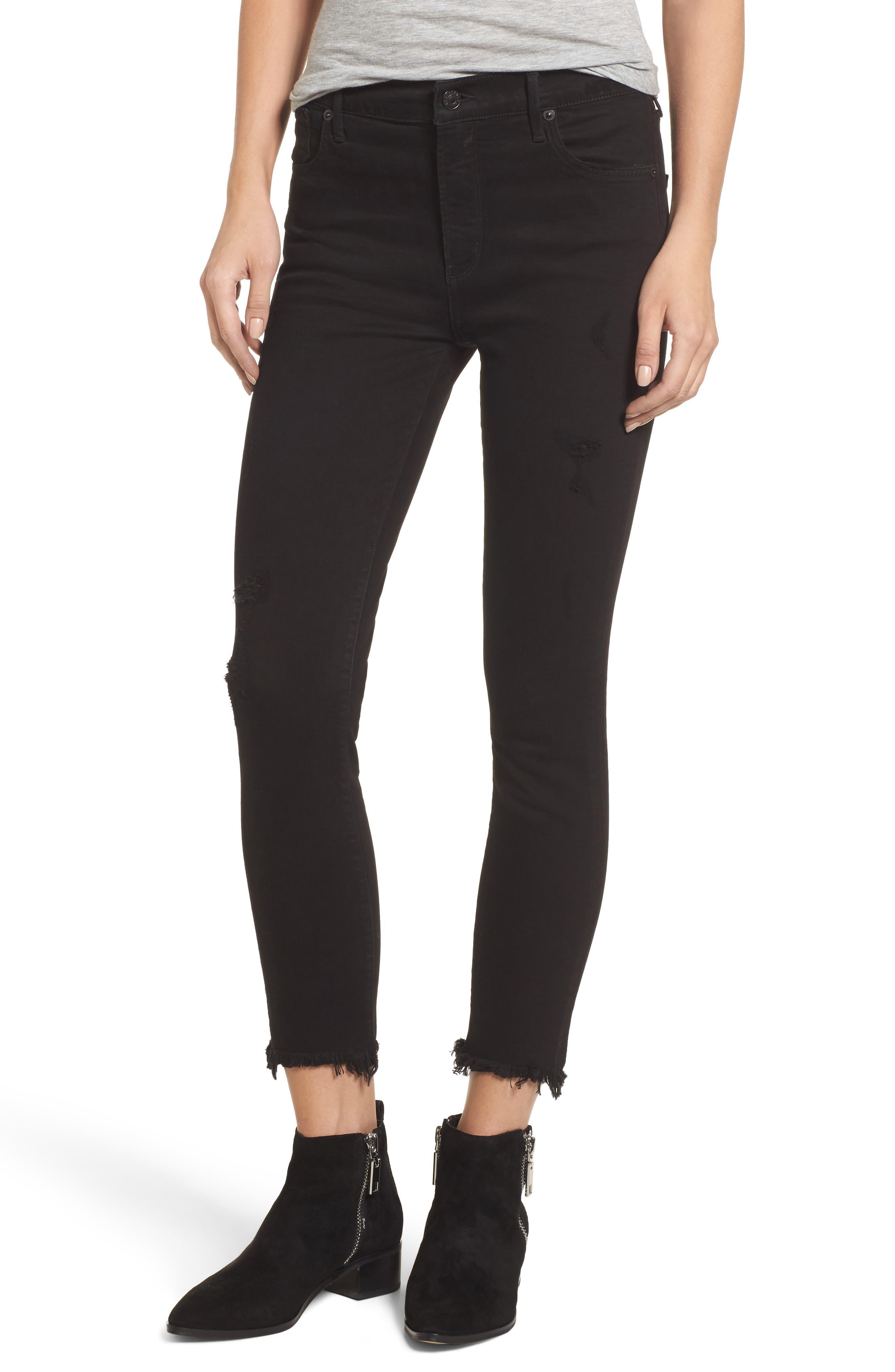 AGOLDE Sophie Crop High Rise Skinny Jeans (Harlow Destruct)