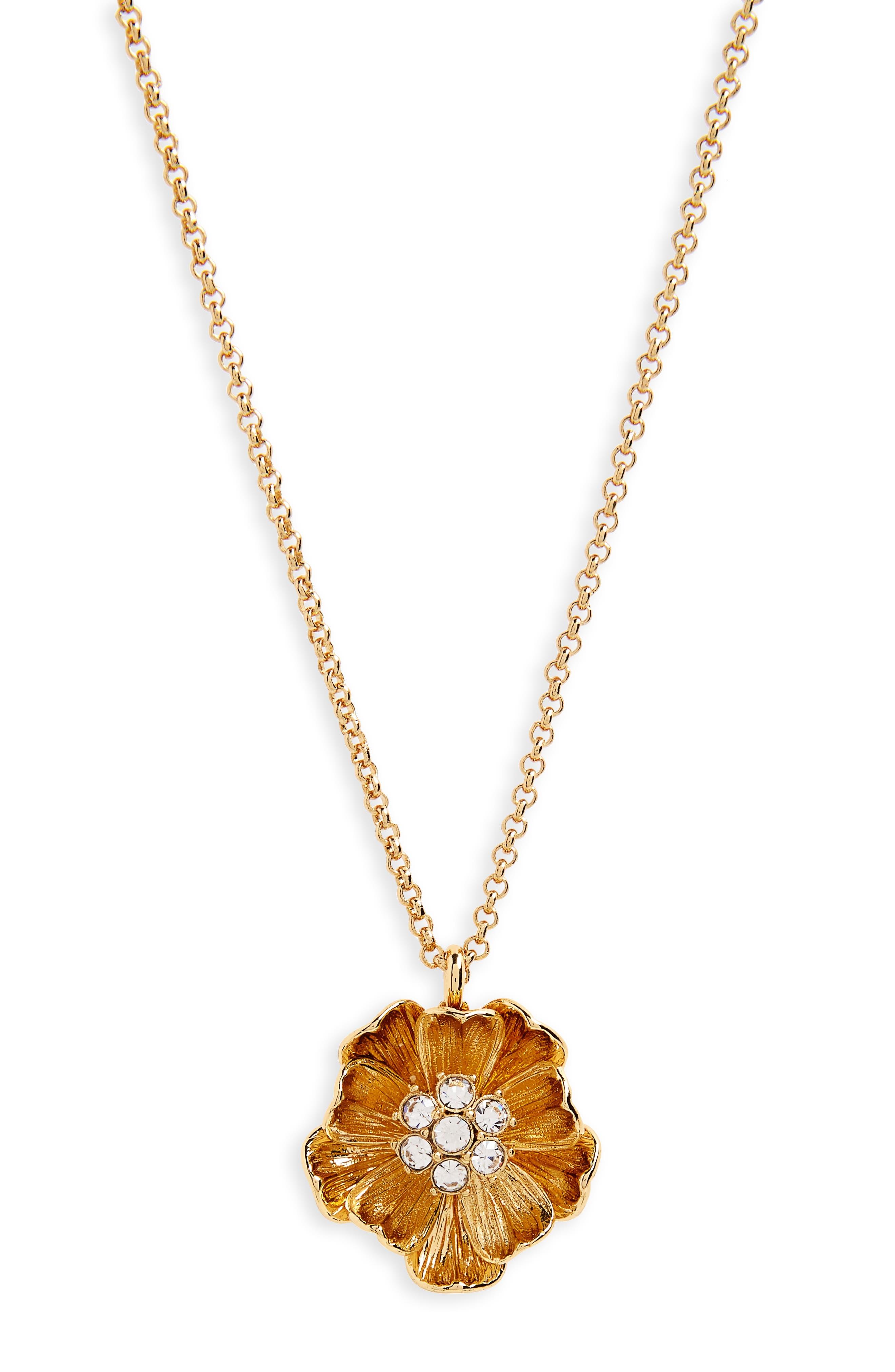 kate spade new york precious poppies pendant necklace