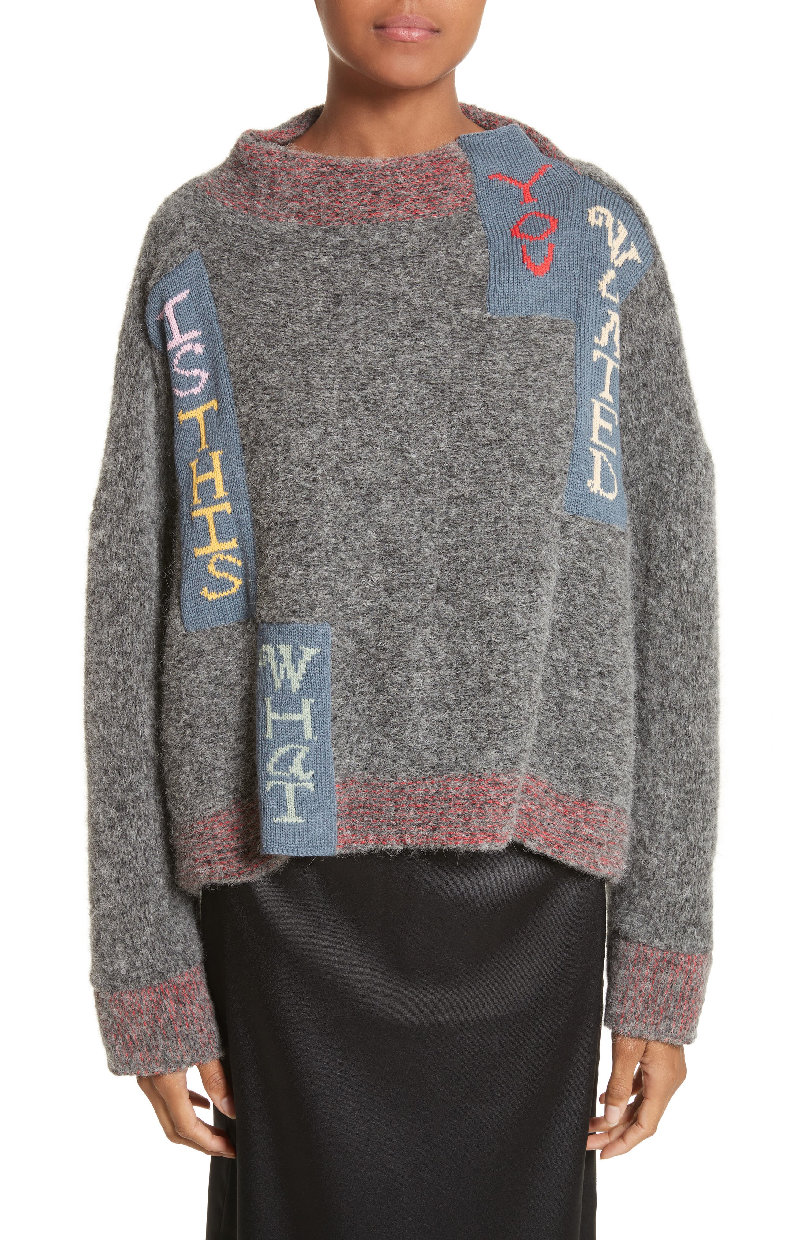 Is This What You Wanted Crop Sweater,                         Main,                         color, Charcoal