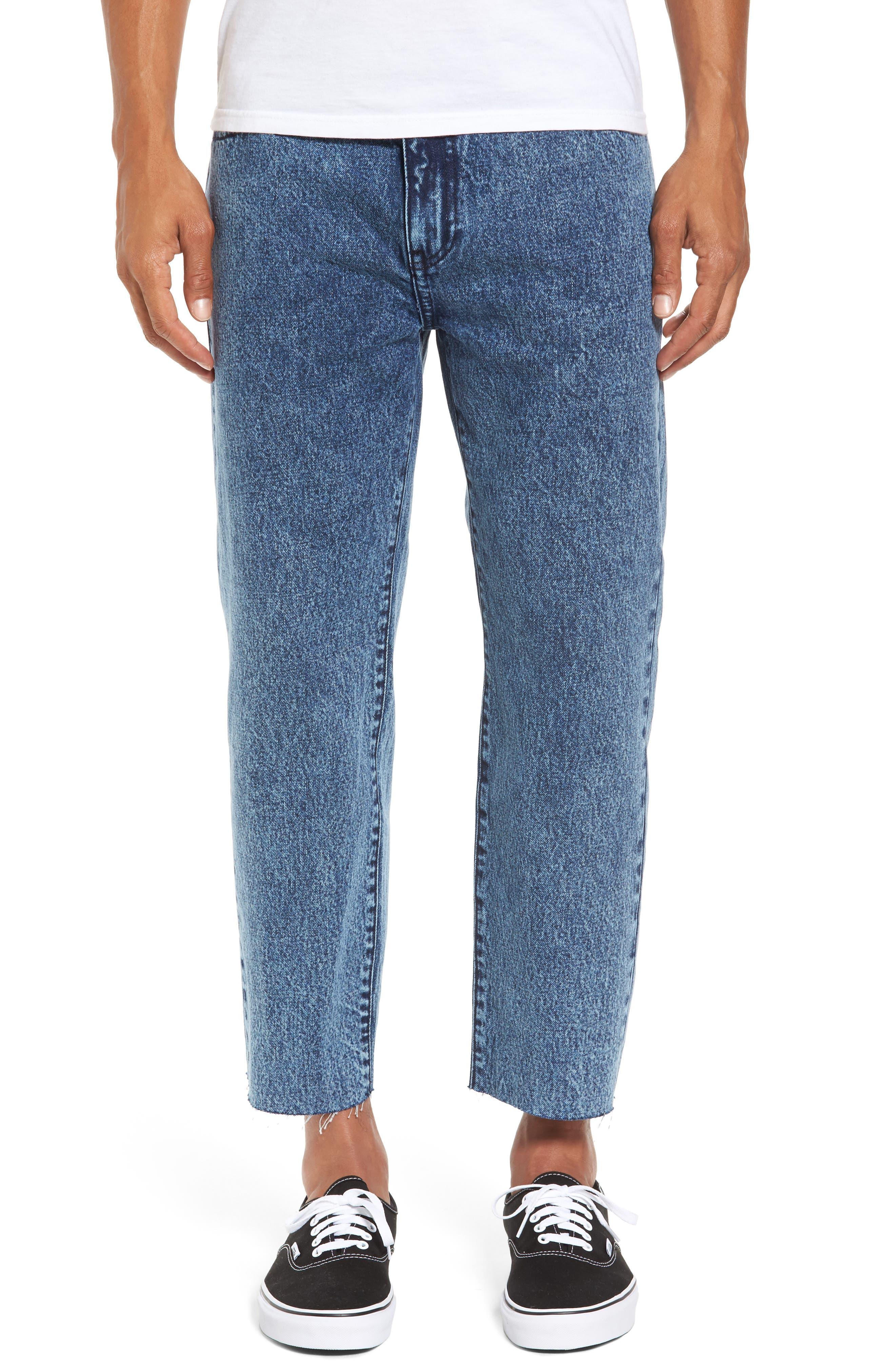 Otis Straight Fit Crop Jeans,                         Main,                         color, Acid Dark Blue Raw Hem