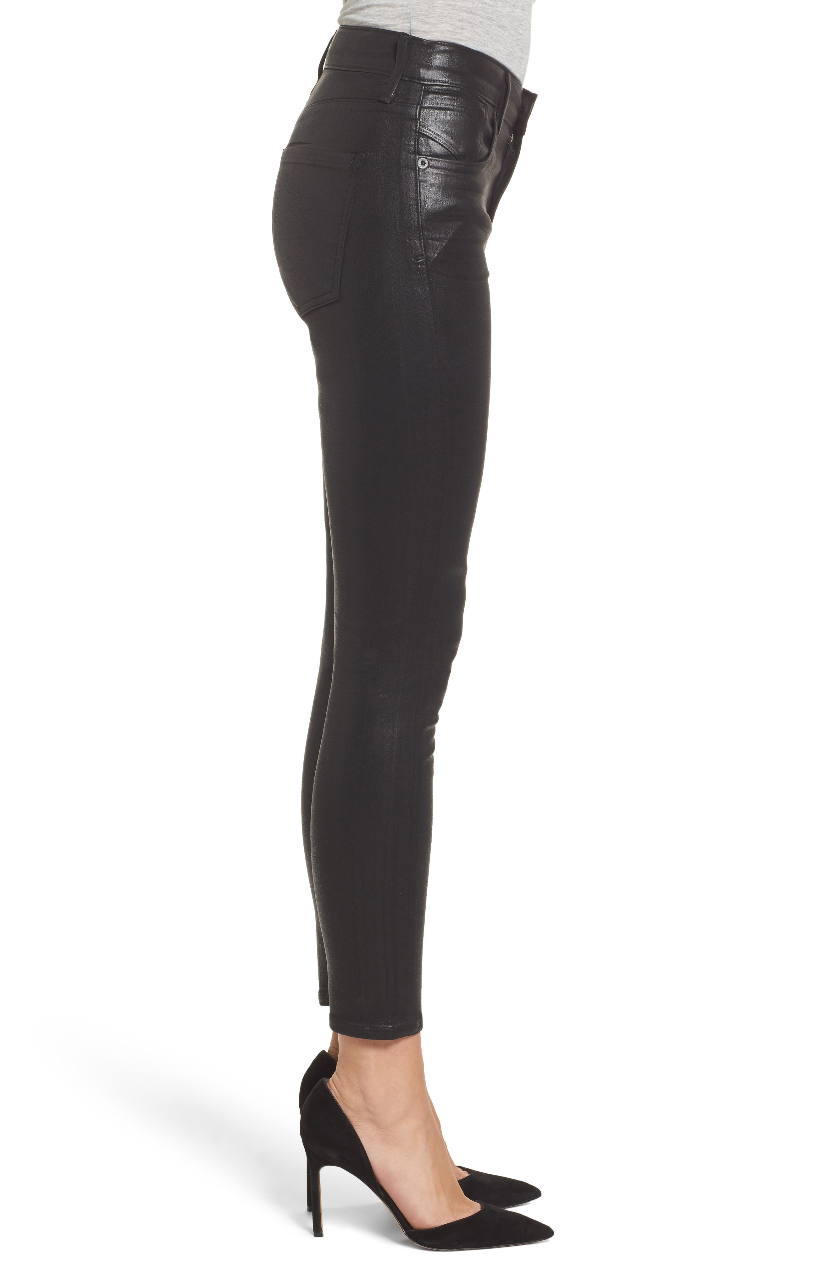 Alternate Image 3  - AGOLDE Sophie Coated High Waist Crop Skinny Jeans (Black Leatherette)