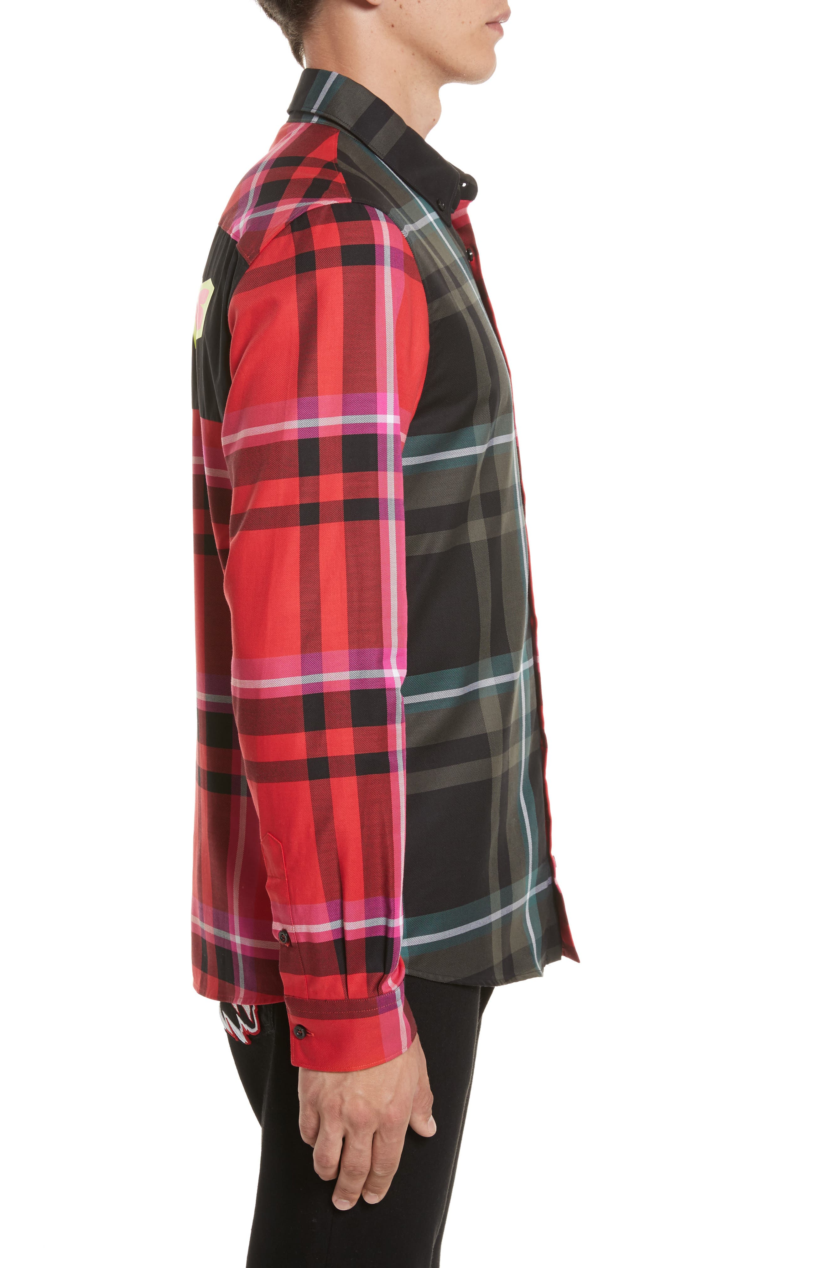 VERSUS by Versace Plaid Woven Shirt,                             Alternate thumbnail 3, color,                             Red Multi