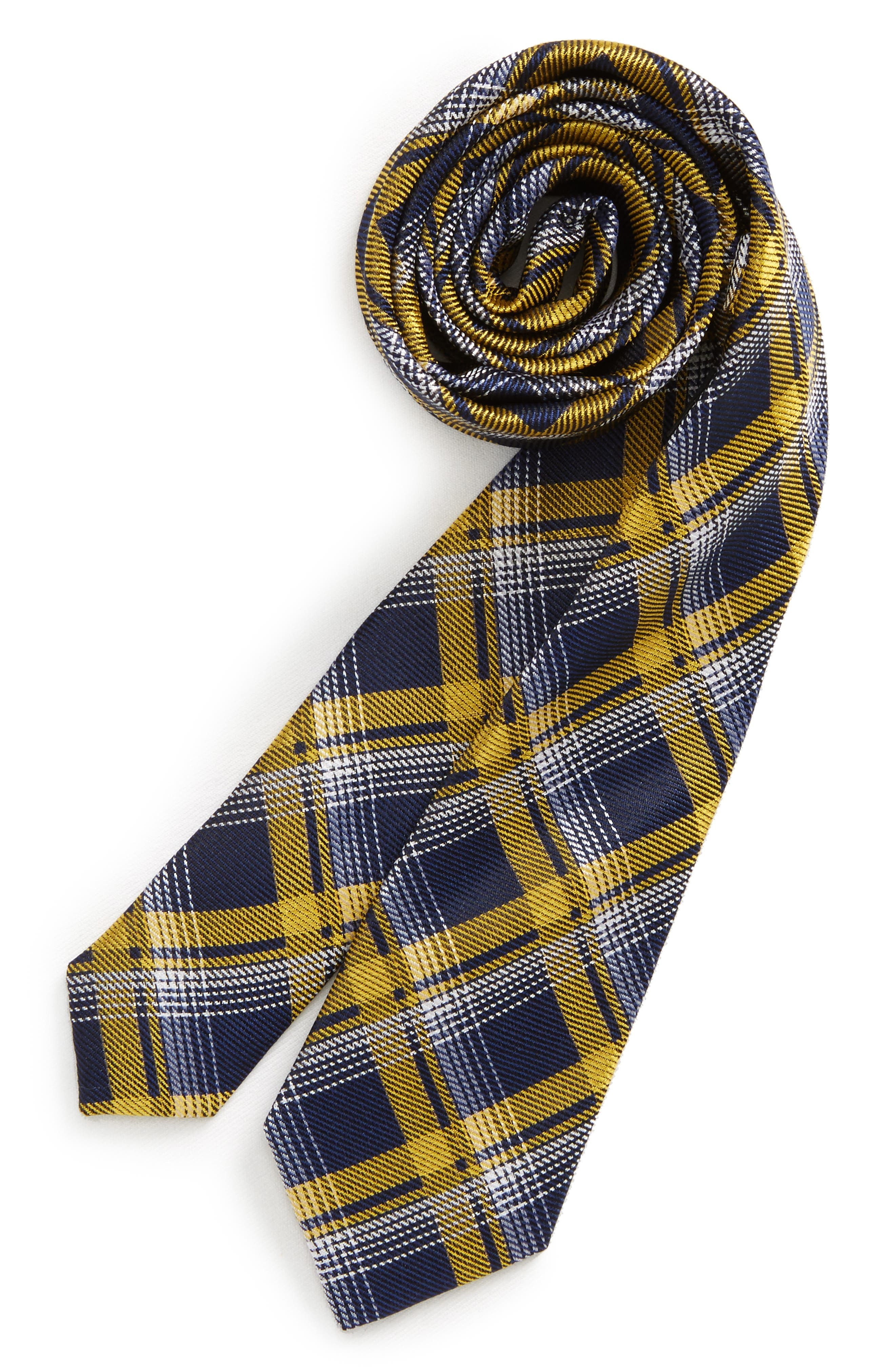 Check Silk Tie,                             Main thumbnail 1, color,                             Gold