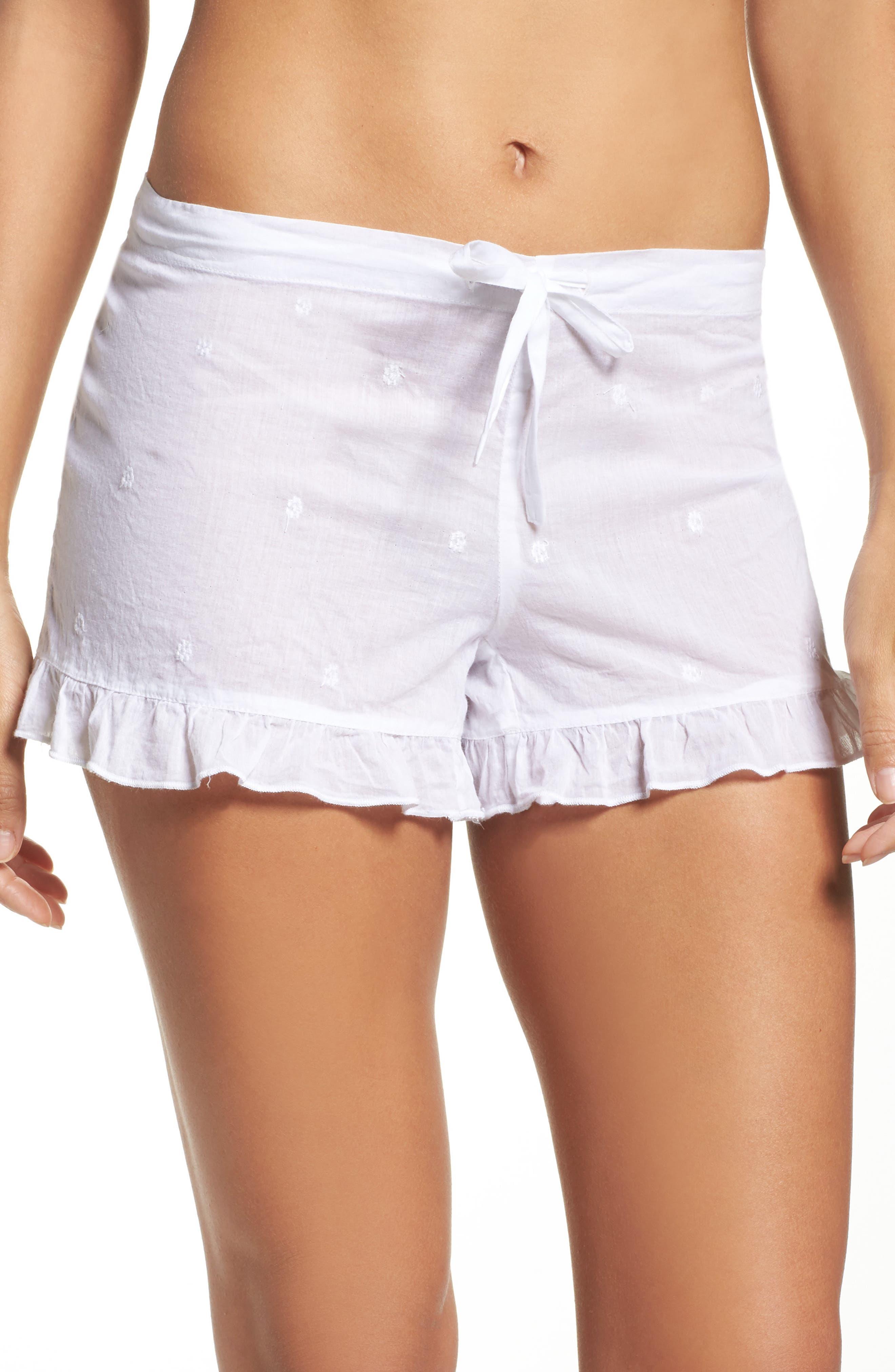Ruffle Sleep Shorts,                         Main,                         color, White
