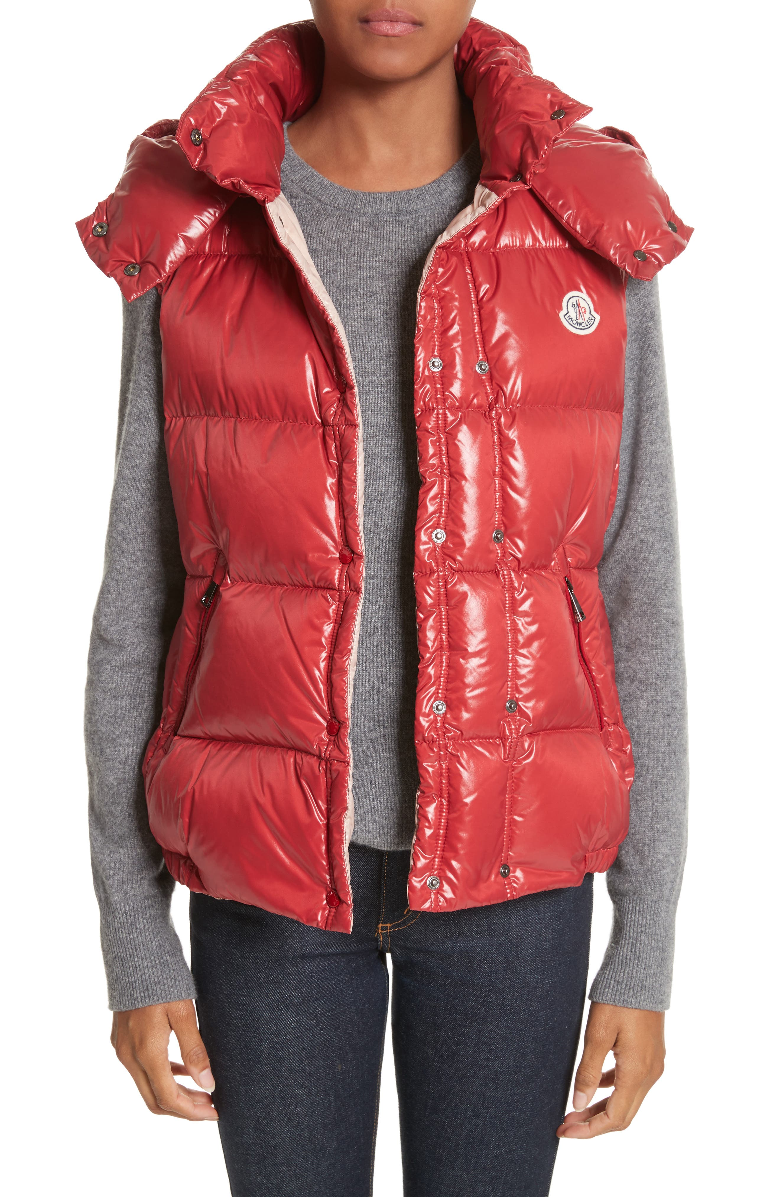 'Galene' Water Resistant Shiny Nylon Hooded Down Vest,                             Main thumbnail 1, color,                             Red