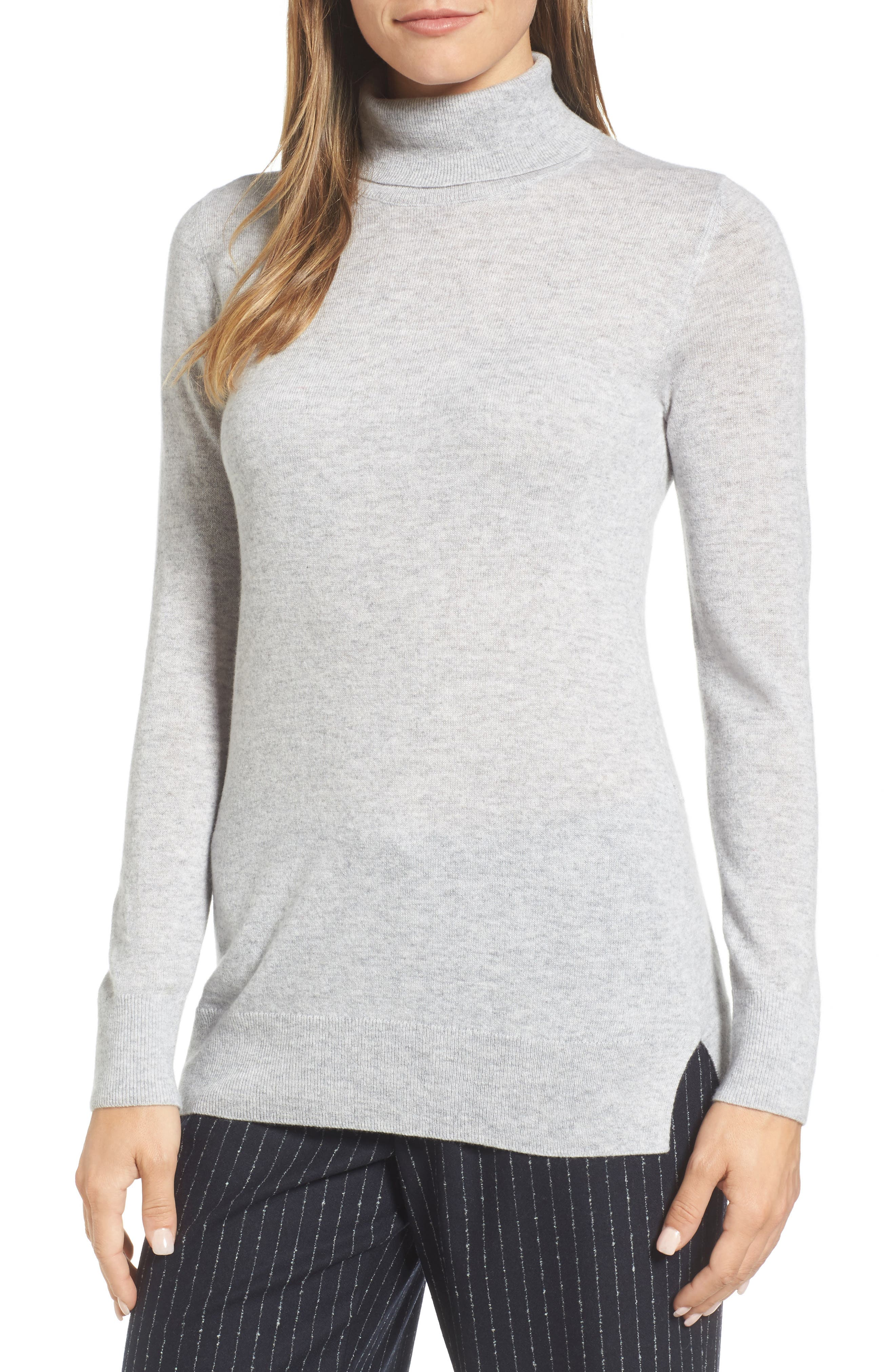 Turtleneck Cashmere Sweater,                             Main thumbnail 1, color,                             Grey Clay Heather