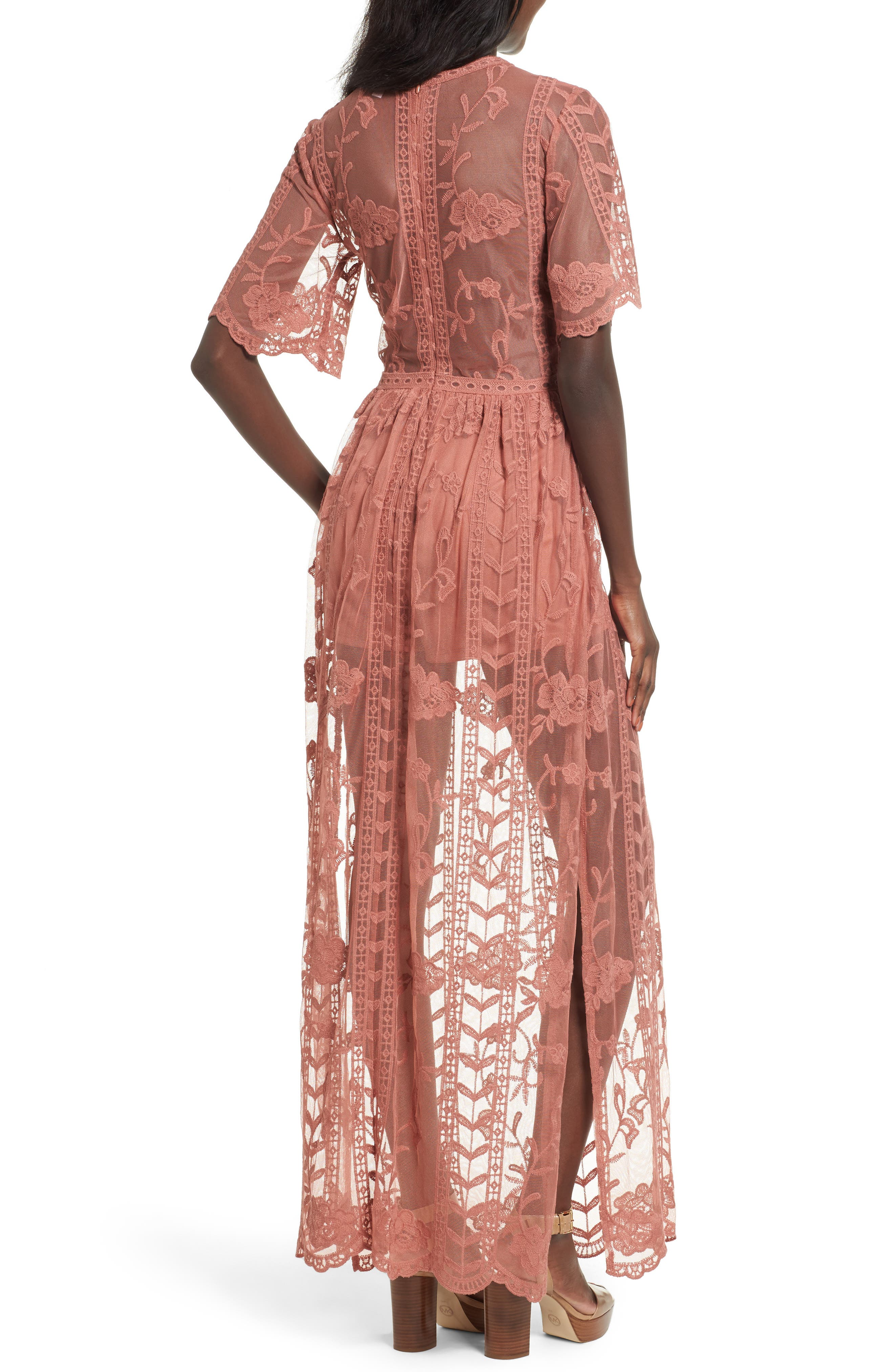 Lace Overlay Romper,                             Alternate thumbnail 2, color,                             Coral Cedar
