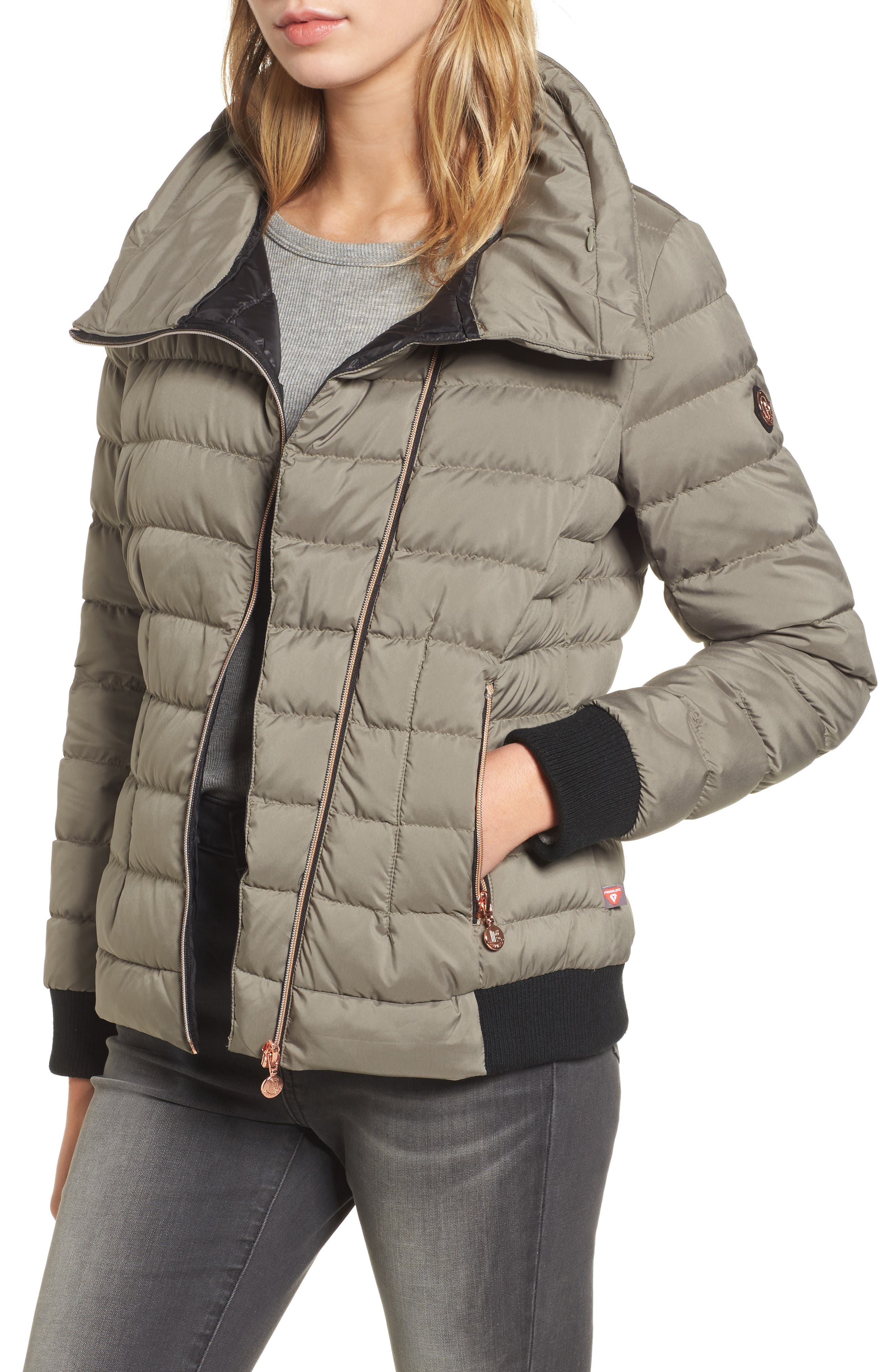 Hooded Packable Down & PrimaLoft<sup>®</sup> Coat,                         Main,                         color, Green Tea