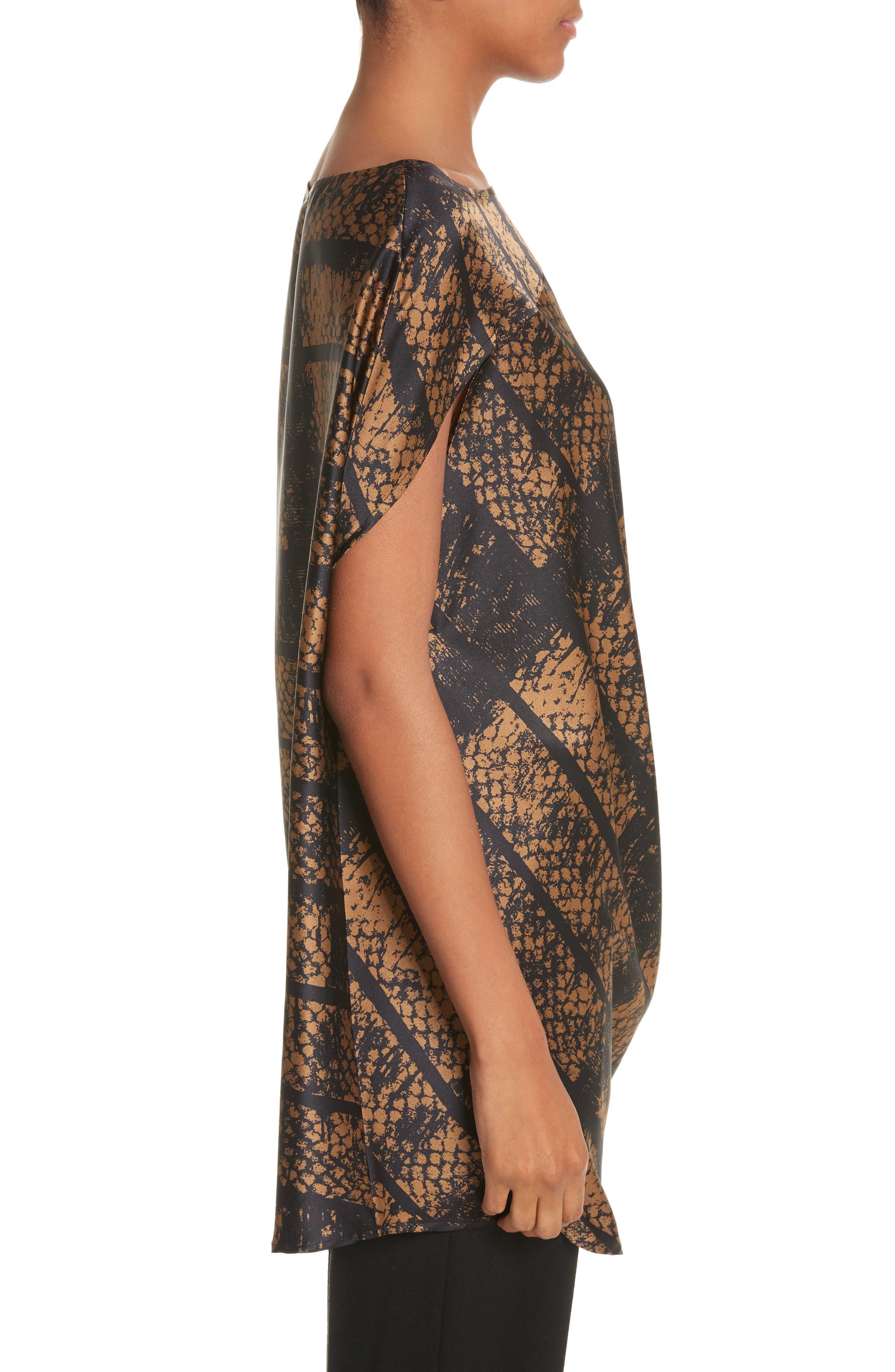 Lui Dot Mesh Stretch Silk Charmeuse Tunic,                             Alternate thumbnail 3, color,                             Dot Mesh Bronze