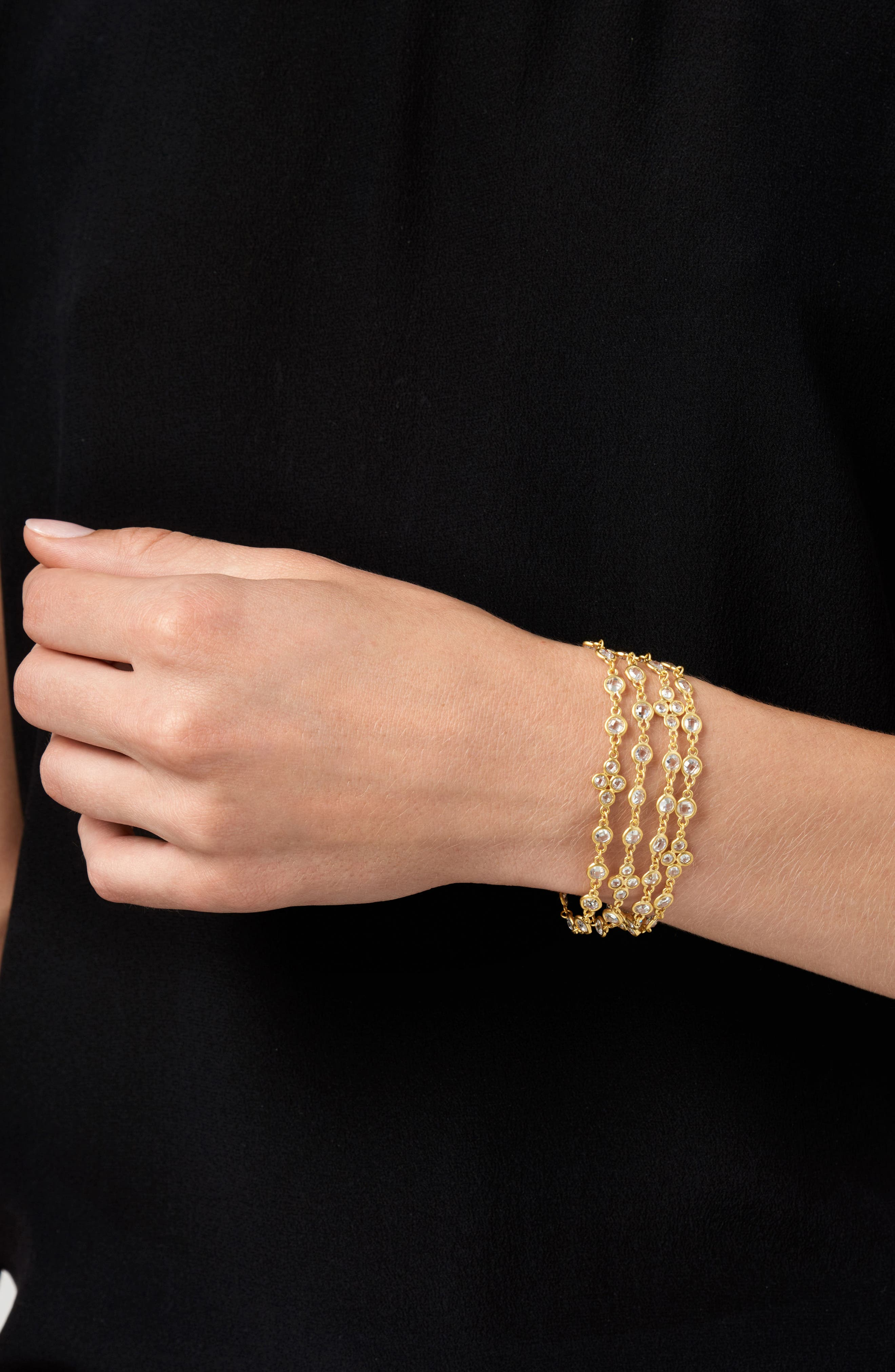 Audrey Radiance Four-Chain Bracelet,                             Alternate thumbnail 4, color,                             Gold/ Clear