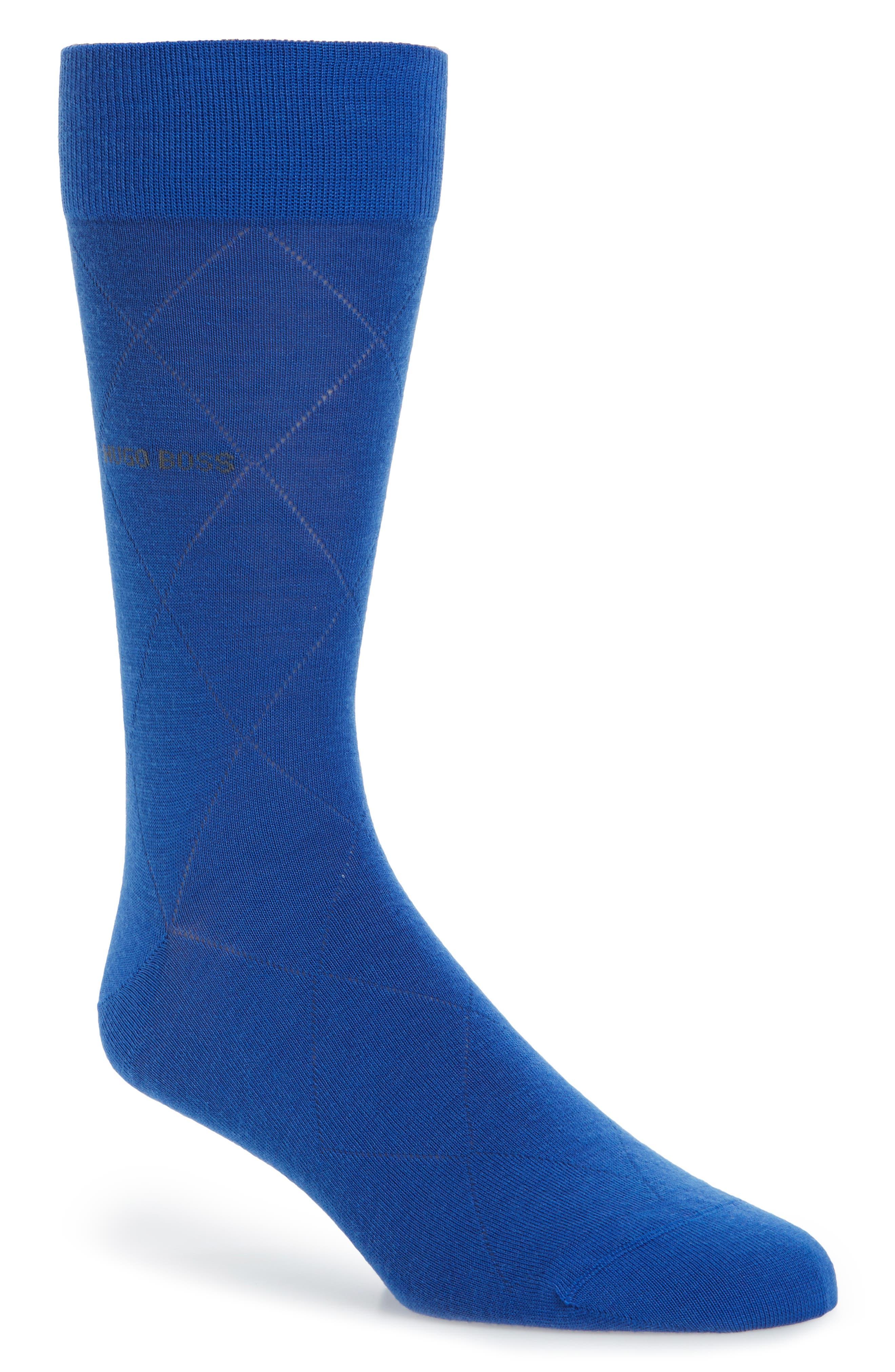 Argyle Crew Socks,                             Main thumbnail 1, color,                             Bright Blue