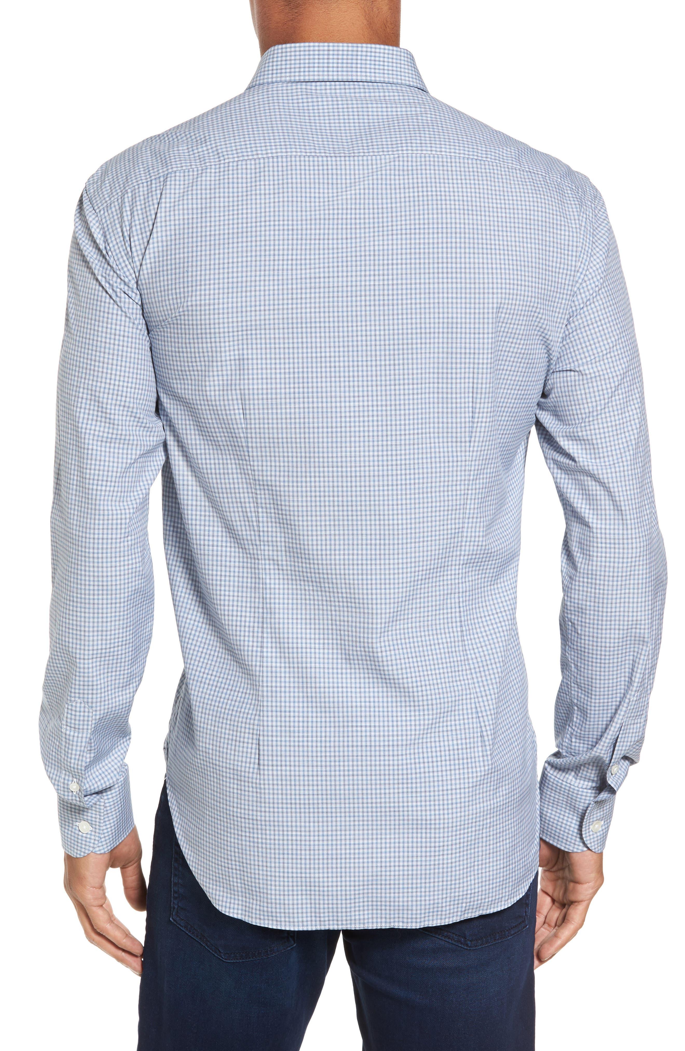Slim Fit Plaid Sport Shirt,                             Alternate thumbnail 2, color,                             Blue