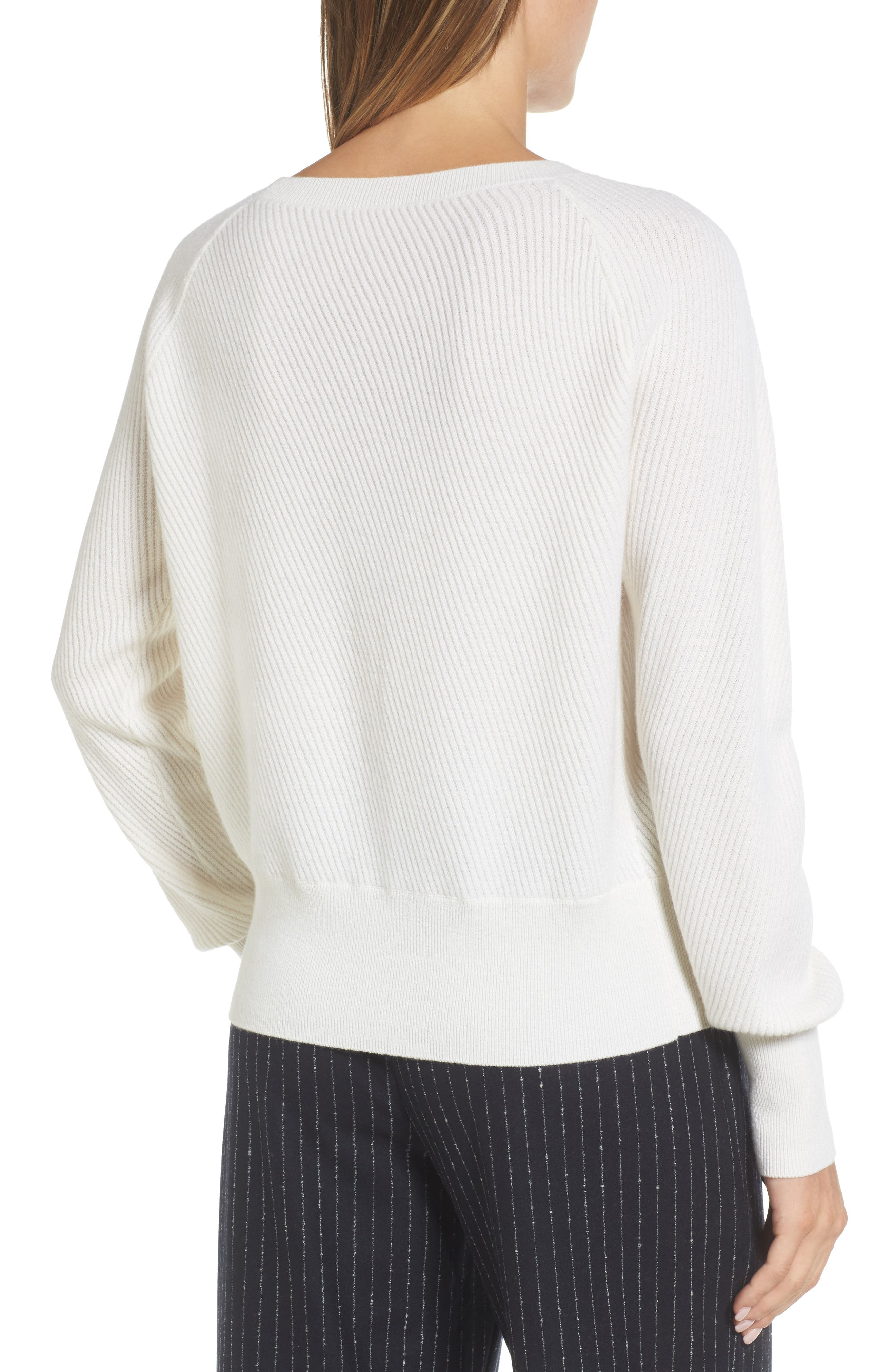 Diagonal Ribbed Cashmere Sweater,                             Alternate thumbnail 2, color,                             Ivory Soft