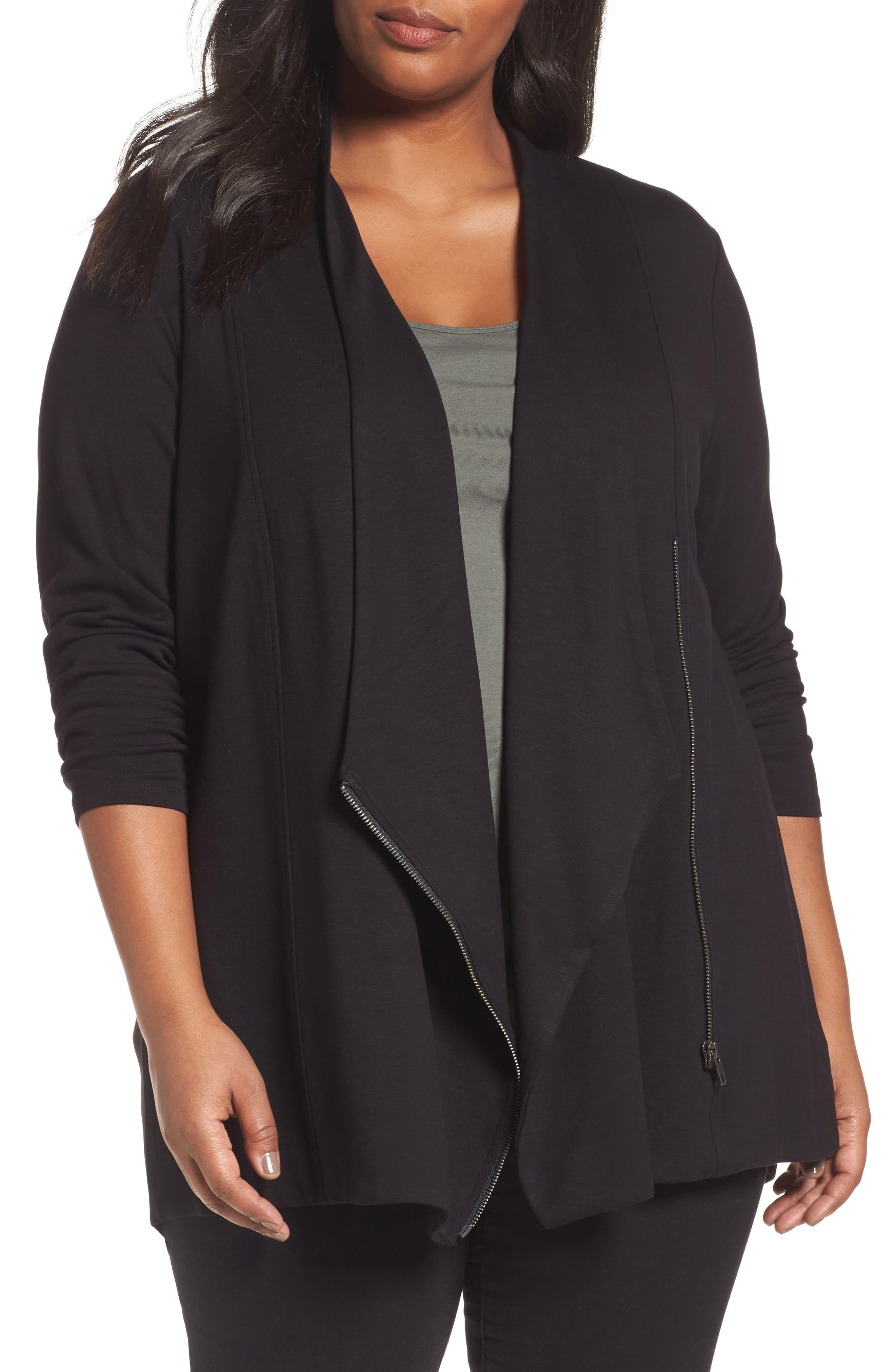 Main Image - NIC+ZOE Studio Asymmetrical Zip Jacket (Plus Size)