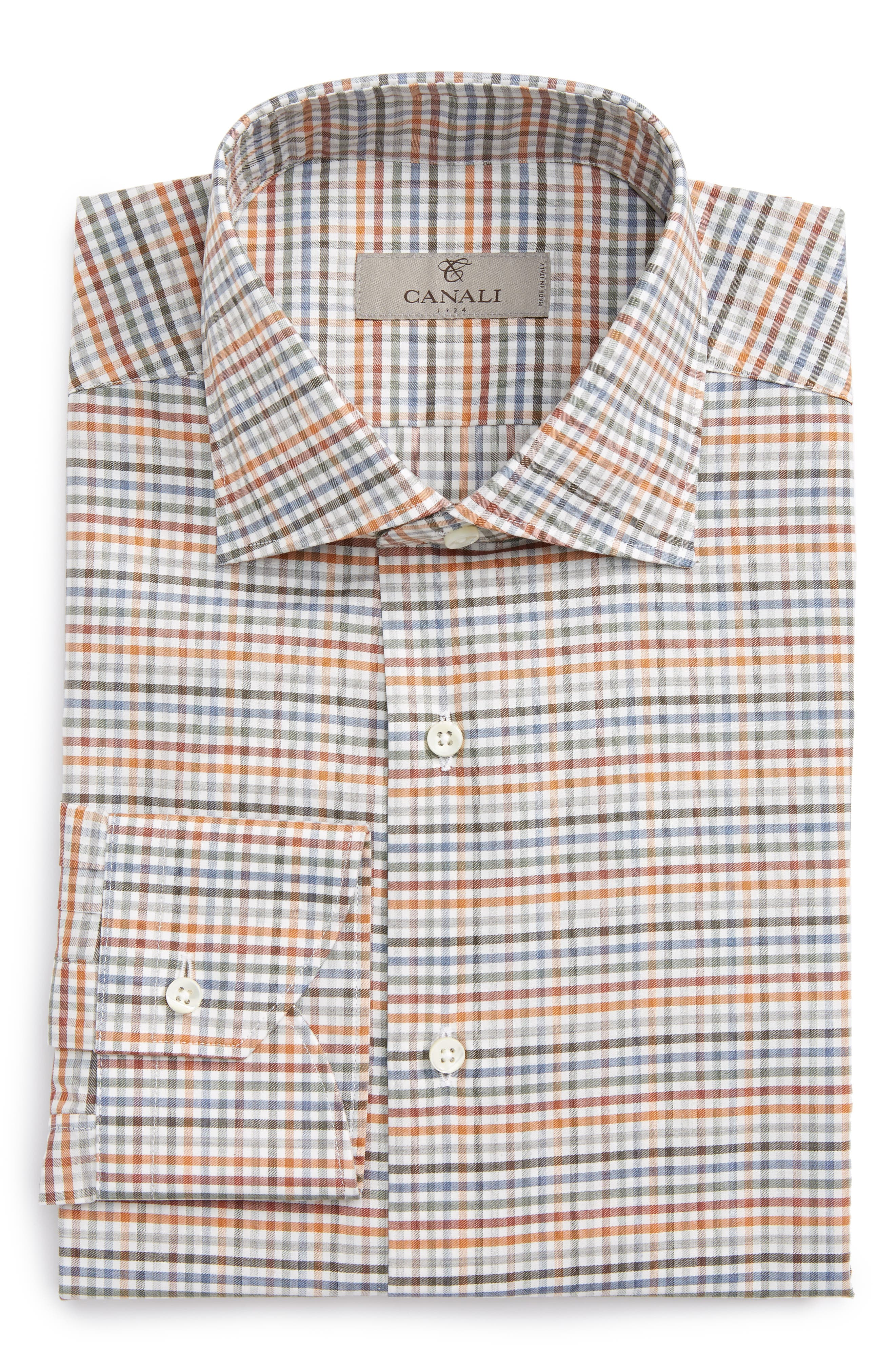 Regular Fit Check Dress Shirt,                         Main,                         color, Orange/ Green