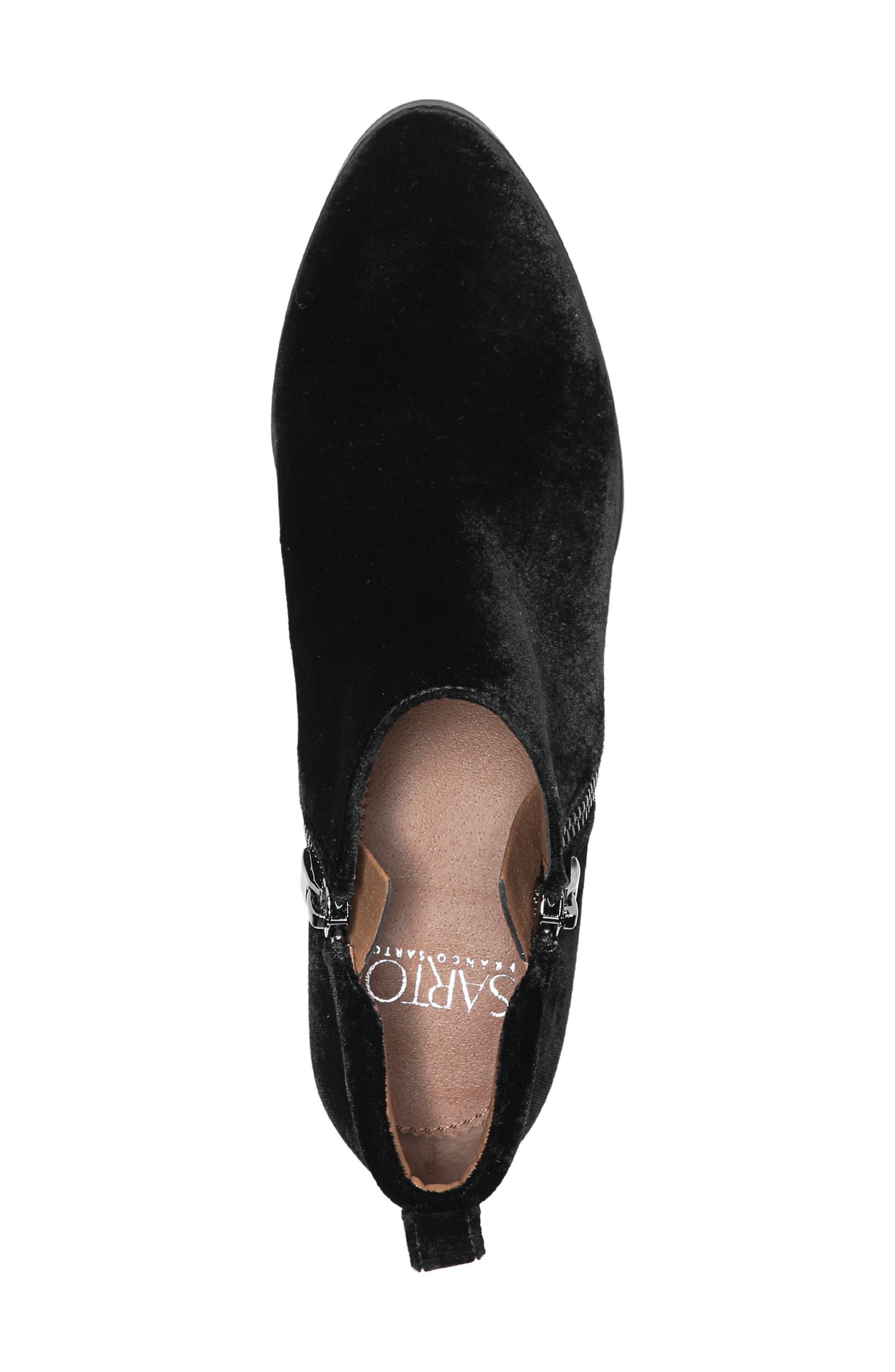 'Granite' Block Heel Bootie,                             Alternate thumbnail 5, color,                             Black Velvet